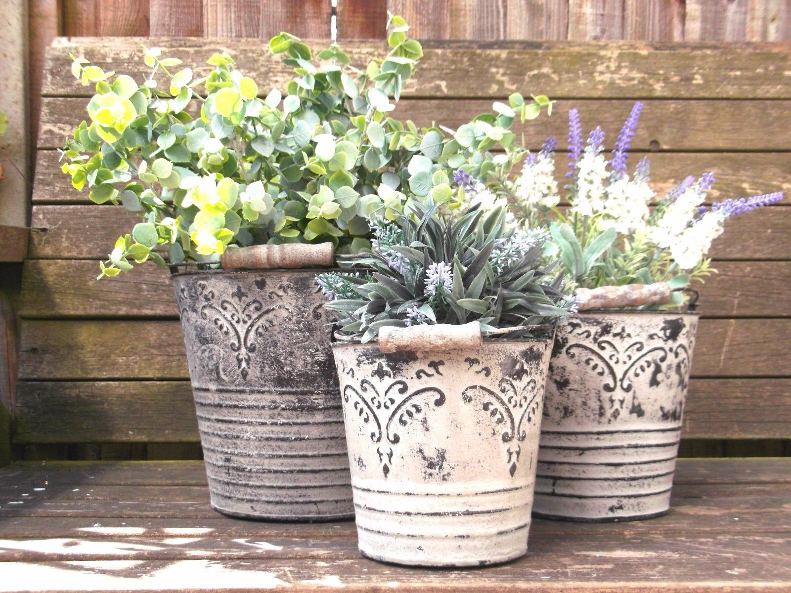 French Vintage Style Set of 3 Metal Garden Planters Containers Flower Pots Vases