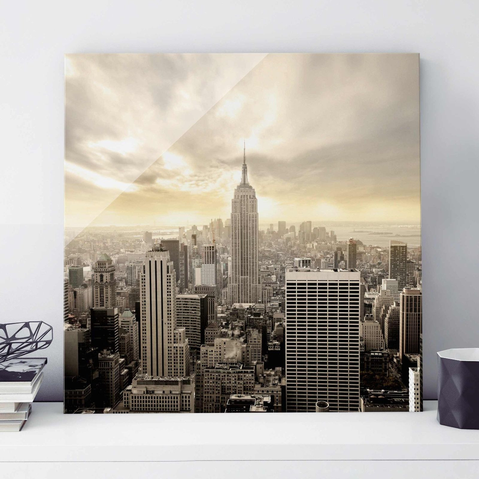 Glasbild Manhattan Dawn Quadrat 1 1 Wandbild Echtglas Farbecht Motiv Design