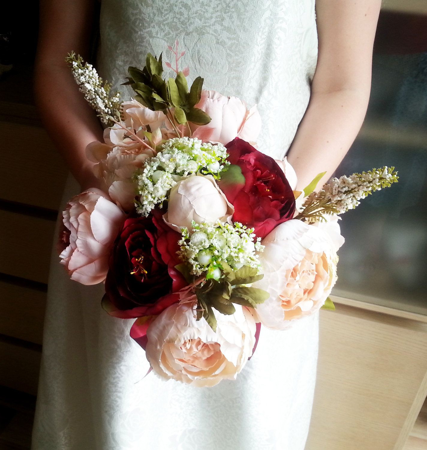 Silk and satin flowers peonies hydrangea vintage wedding bouquet blush pink burgundy Flowers satin ribbon