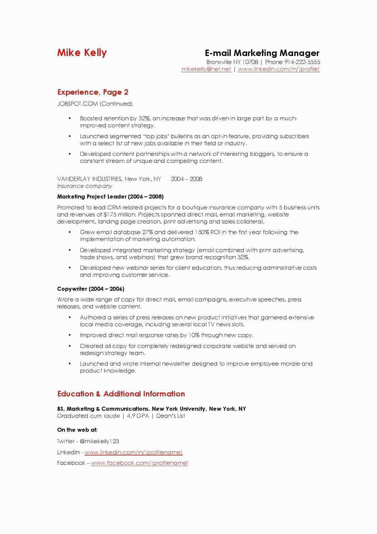 Plumbing Supervisor Resume Sample Best Email Marketing Resume Sample Haciecsa