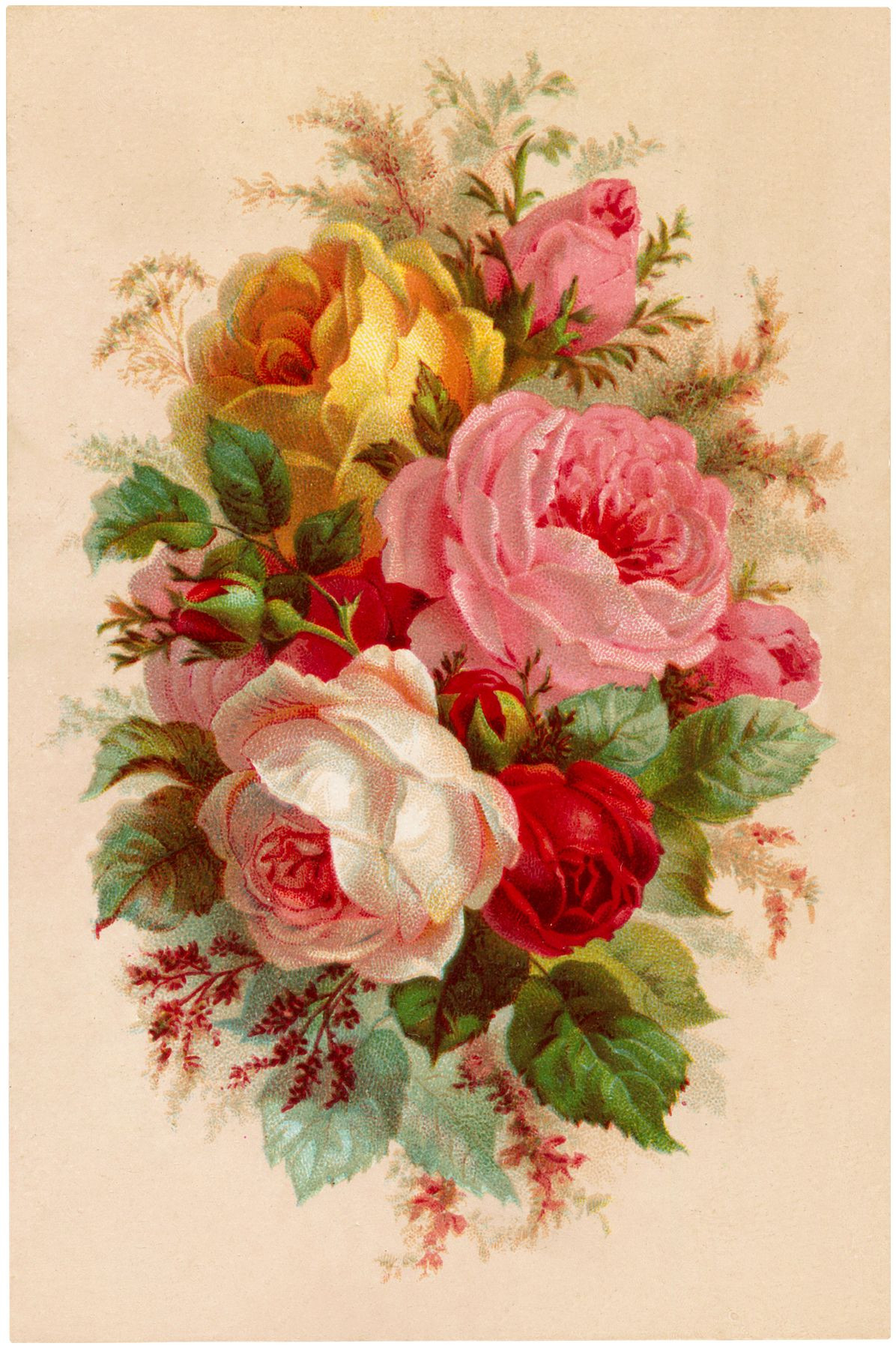 Beautiful Vintage Roses Bouquet Image The Graphics Fairy