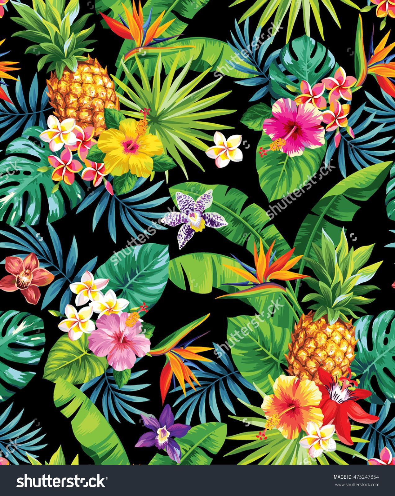 Seamless tropical pattern with pineapples palm leaves and flowers Vector illustration