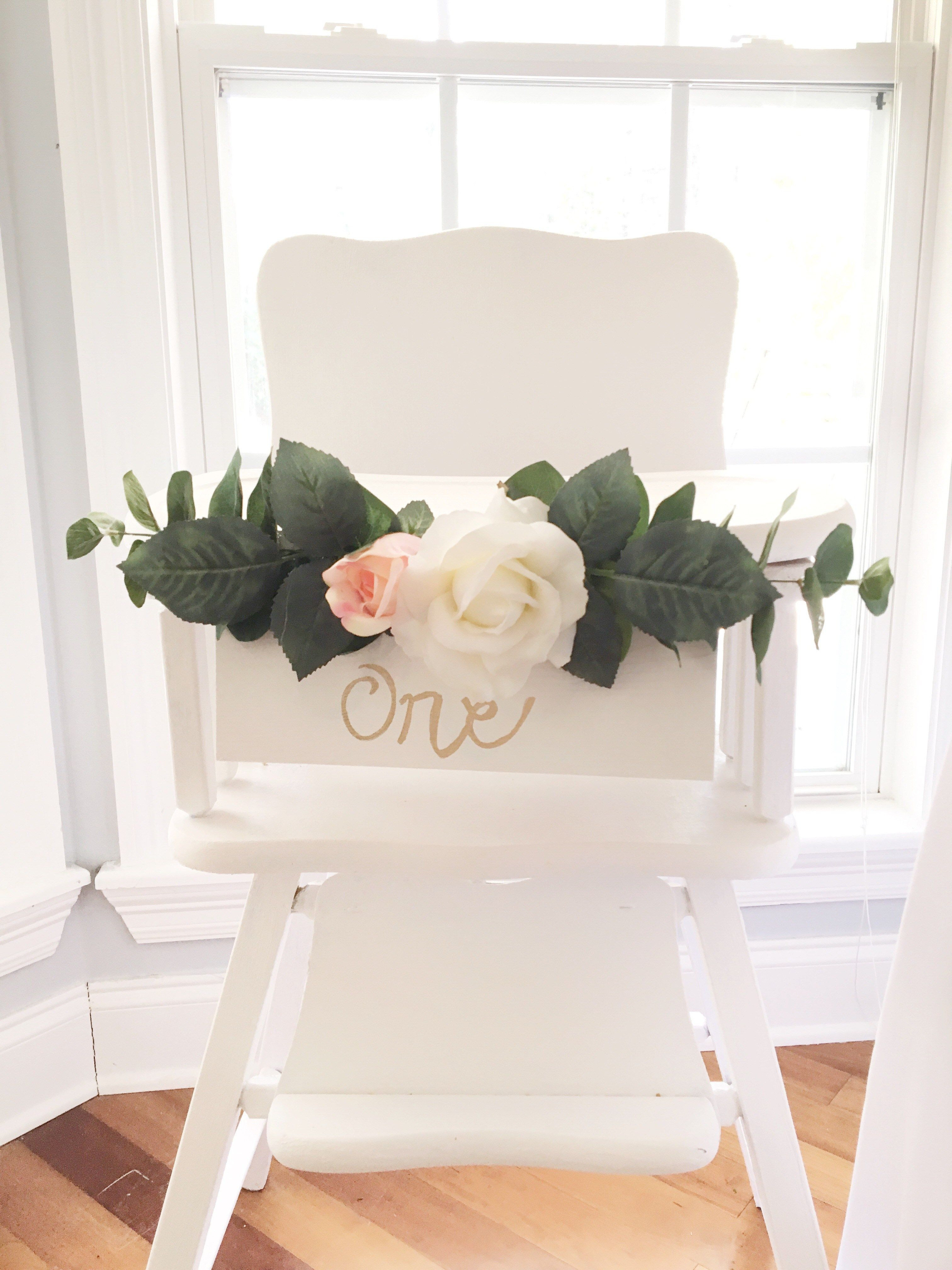 First Birthday Floral High Chair Decoration Girl s First Birthday firstbirthday girlbirthday