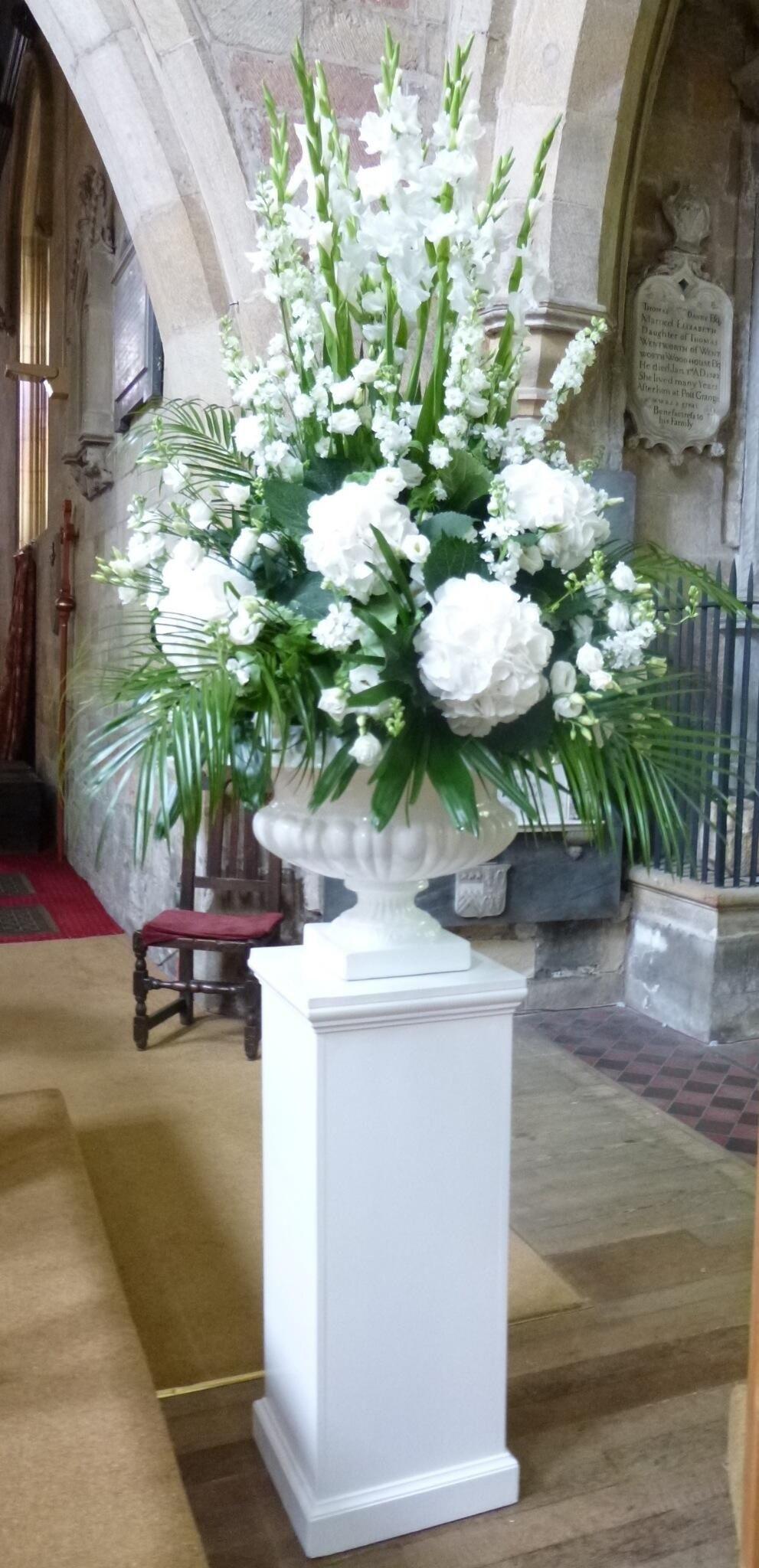 White pedestal arrangement