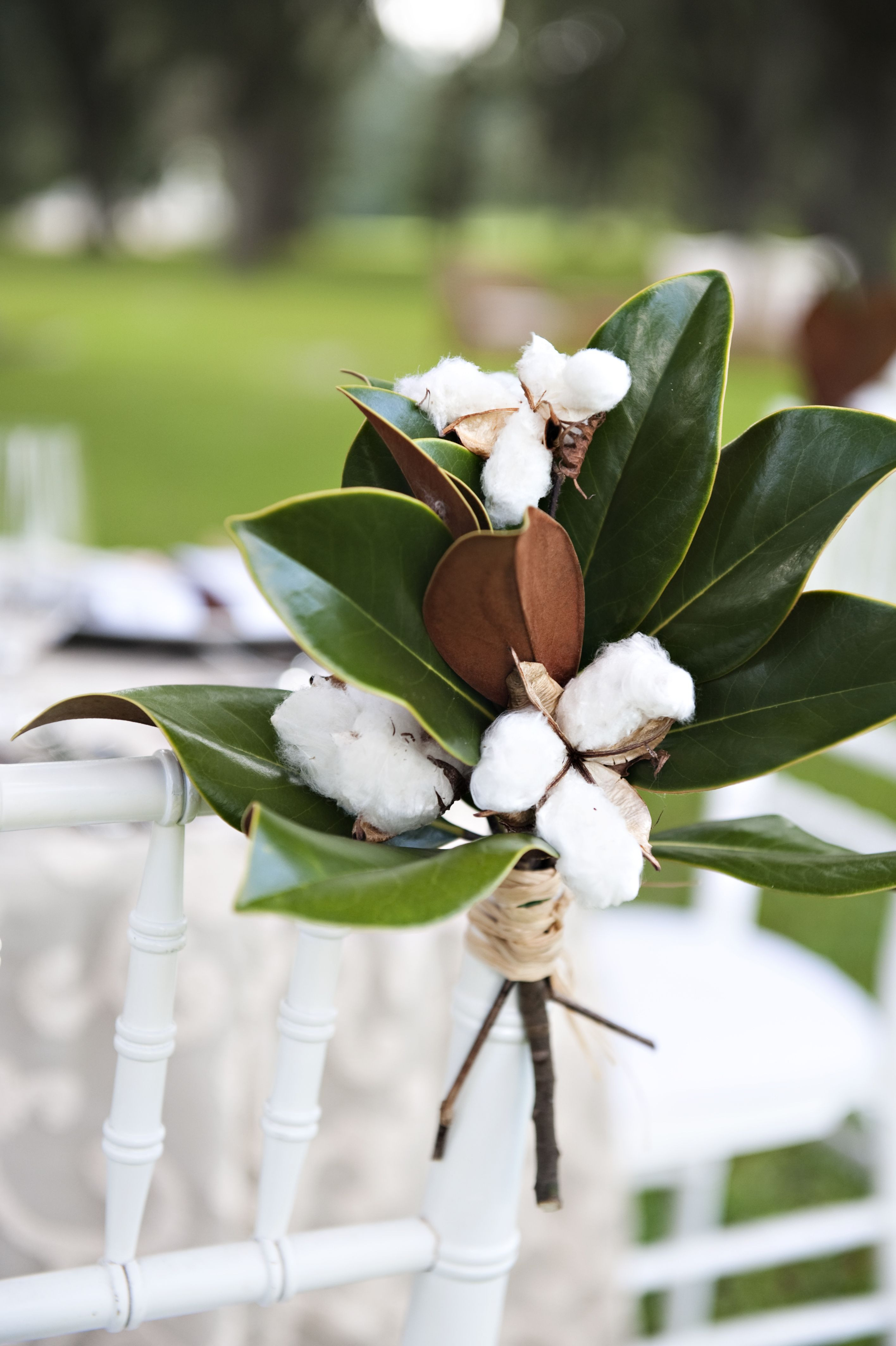 Cotton & Magnolia leaves in a mason jar tied with straw burlap or lace for simple centerpieces 50th sign ing up through center