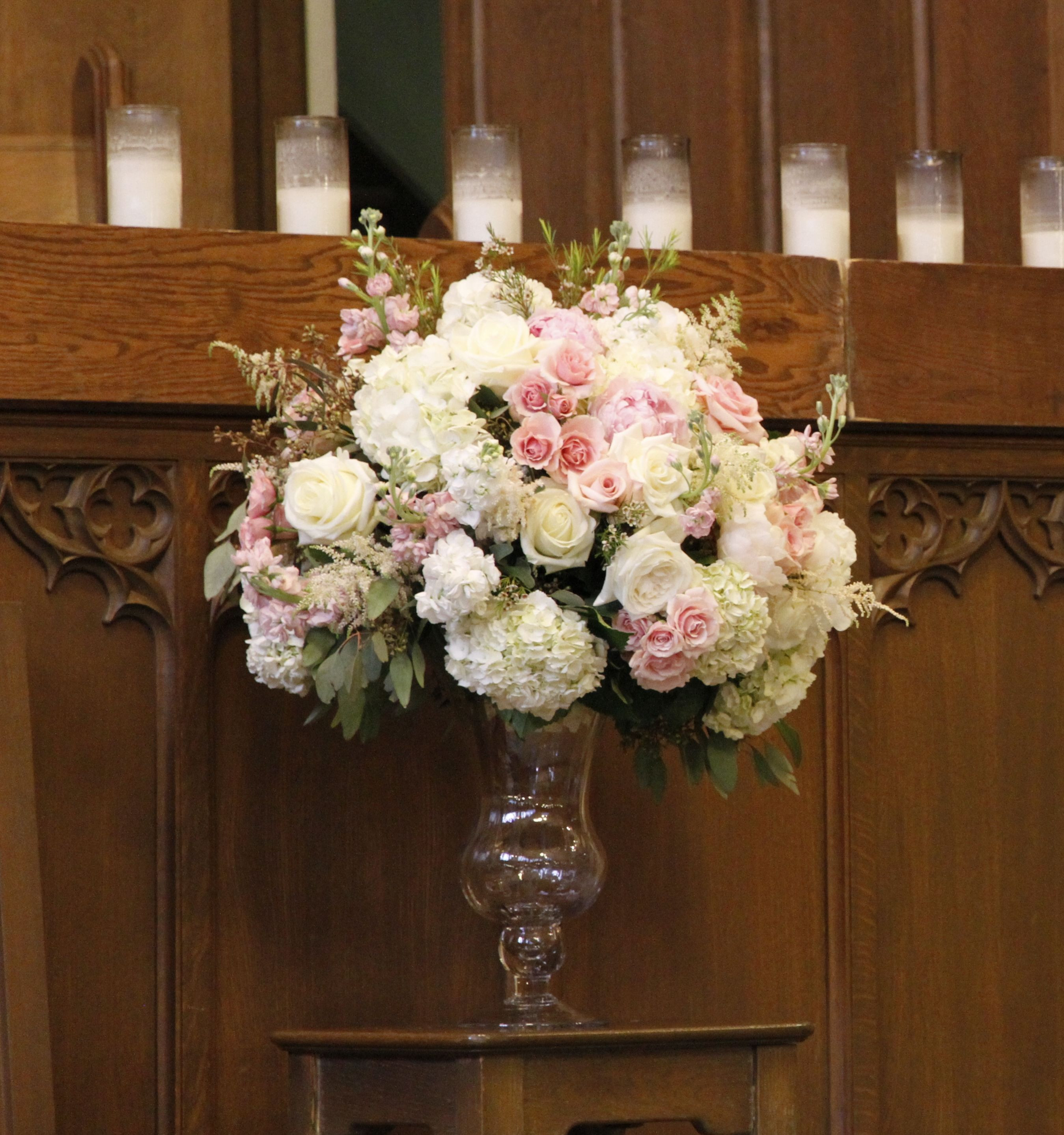 blush and mint green wedding flowers for a wedding ceremony Dallas wedding flowers by AntebellumDesign