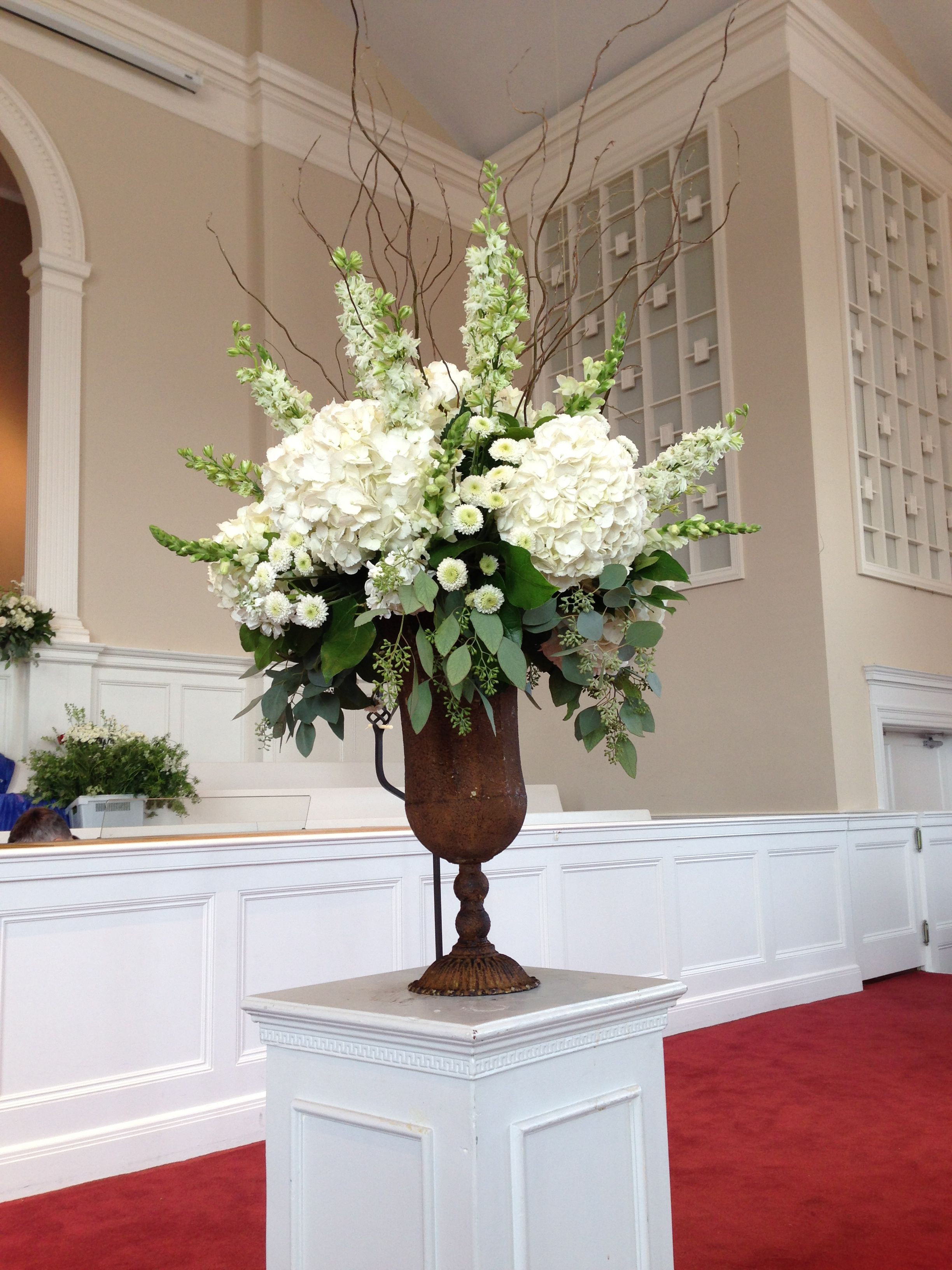 Church Arrangement Florals Wedding Decorations Traditional Wedding Classic Wedding flowers Rustic Urn chic Hydrangeas White Flowers Green