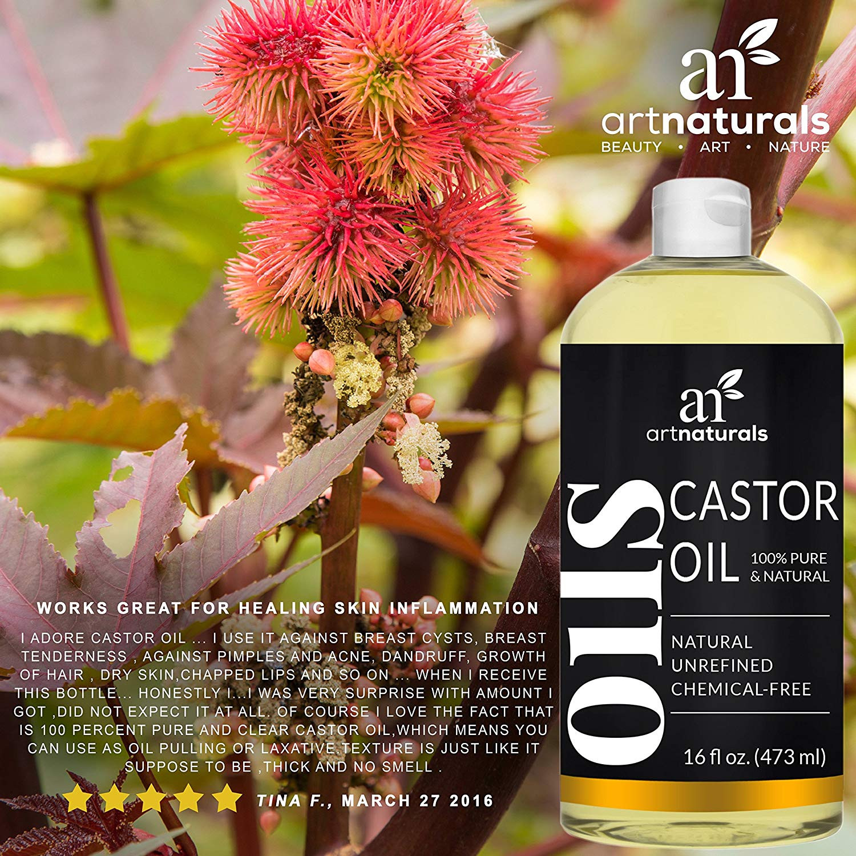 Amazon ArtNaturals Pure Organic Castor Oil 16 Fl Oz 473ml Massage Oil & Moisturizer Cold Pressed from Jamaica for Hair Skin