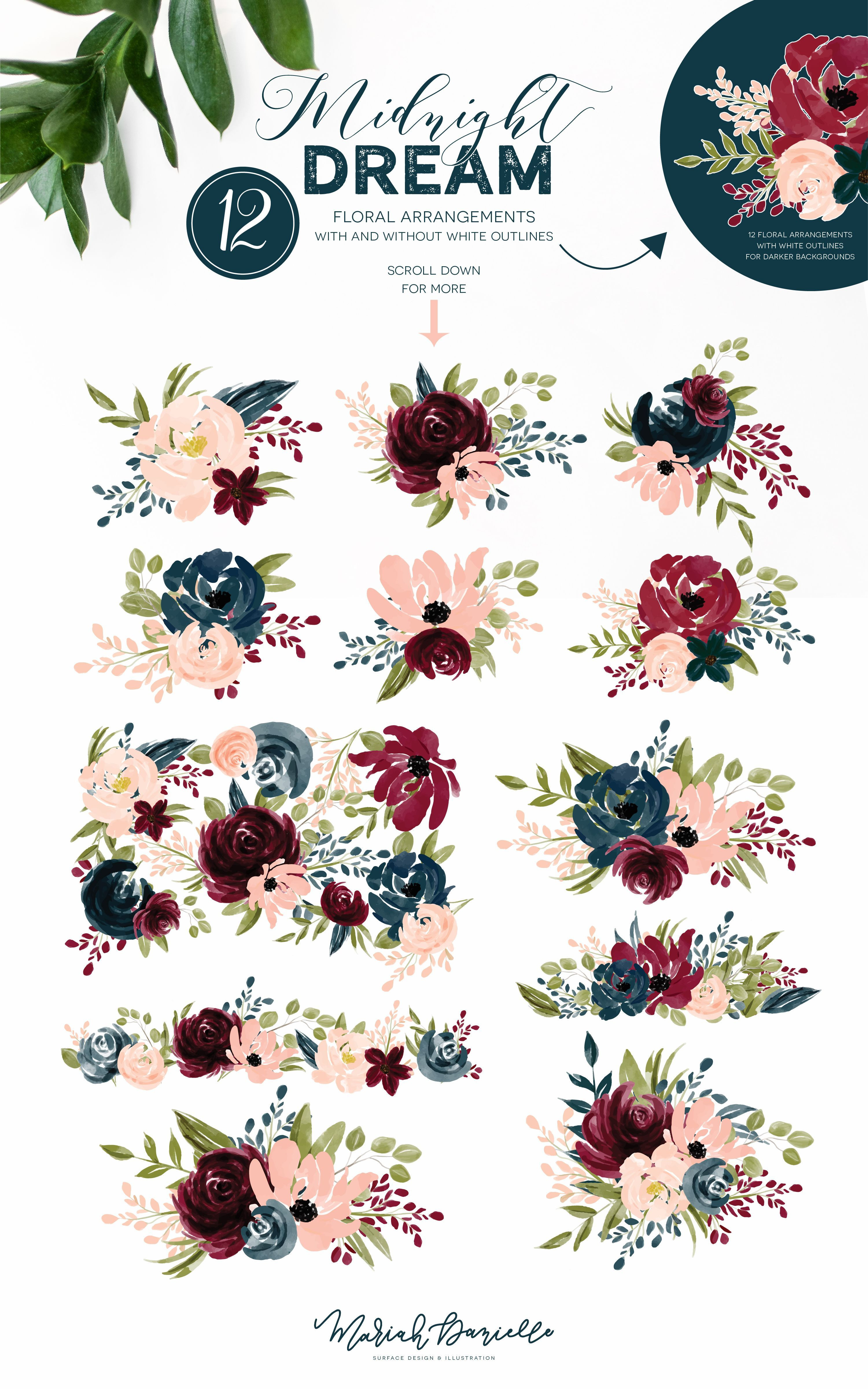 Burgundy & Navy Flower Graphic Set Illustrations Hand Drawn Floral Illustrations