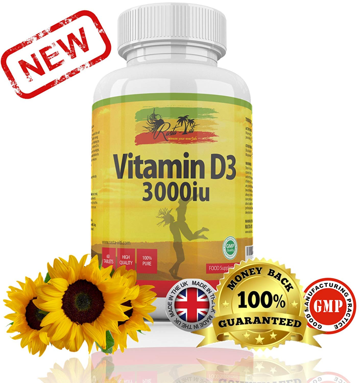Vitamin D Tablets by Rasta Viti High Strength Vitamin D3 3000IU Pills for Ve arians & Vegans Max Absorption Cholecalciferol Formula Supplements for