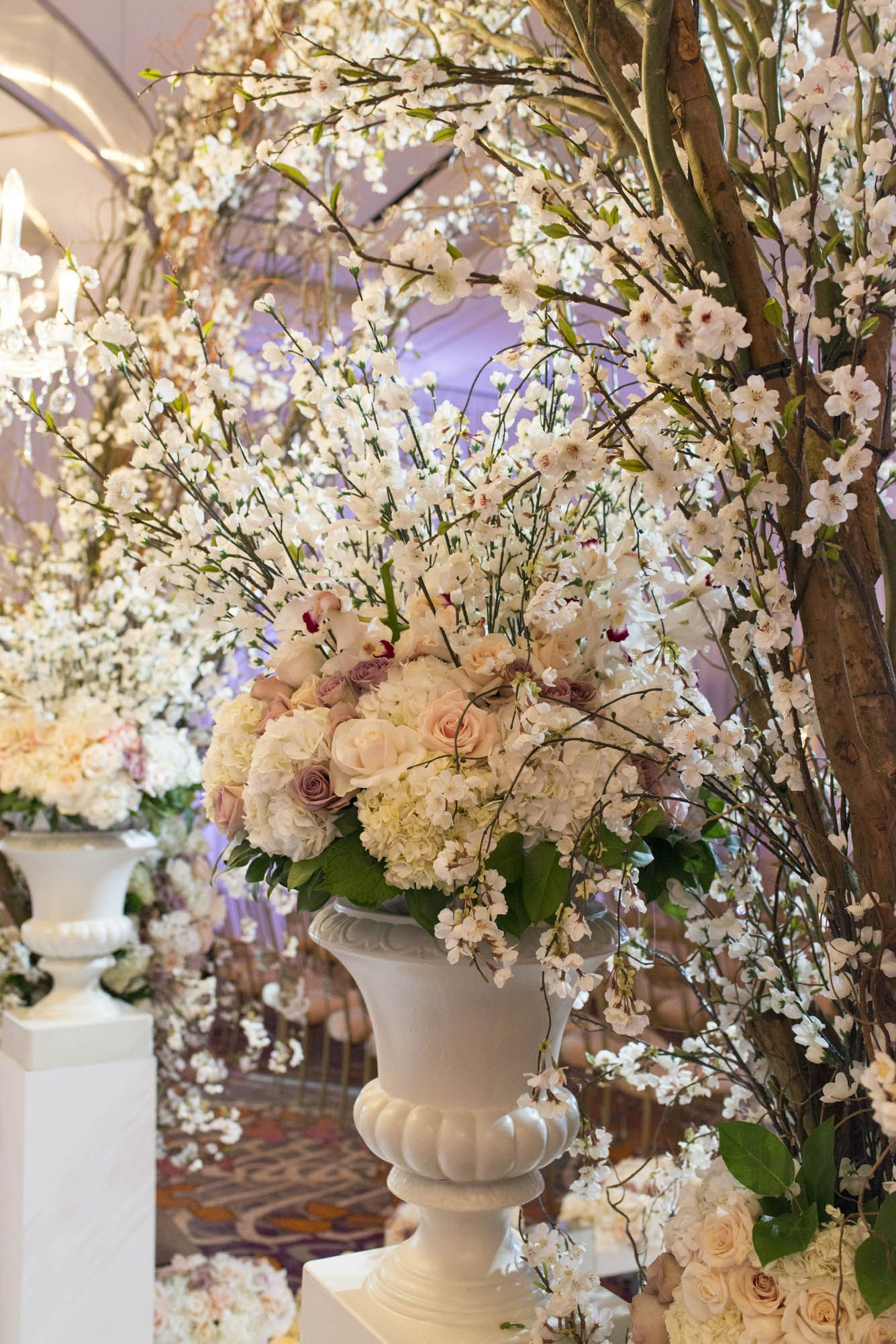Aisle Markers in Tall White Urns
