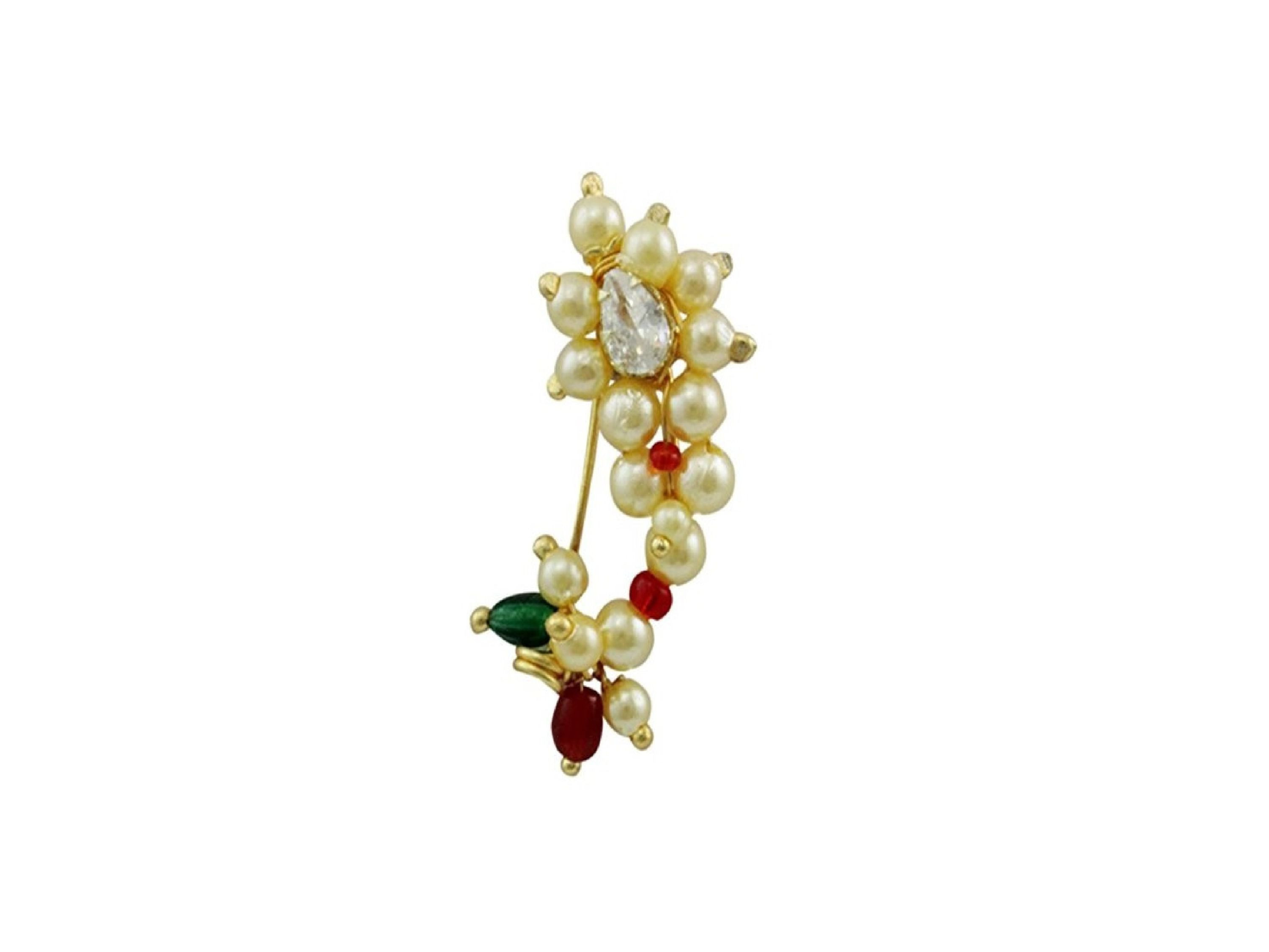 Parna Gold Plated Pearl Traditional Maharashtrian Pressing clip on Nath Nose Ring for Women and Girls