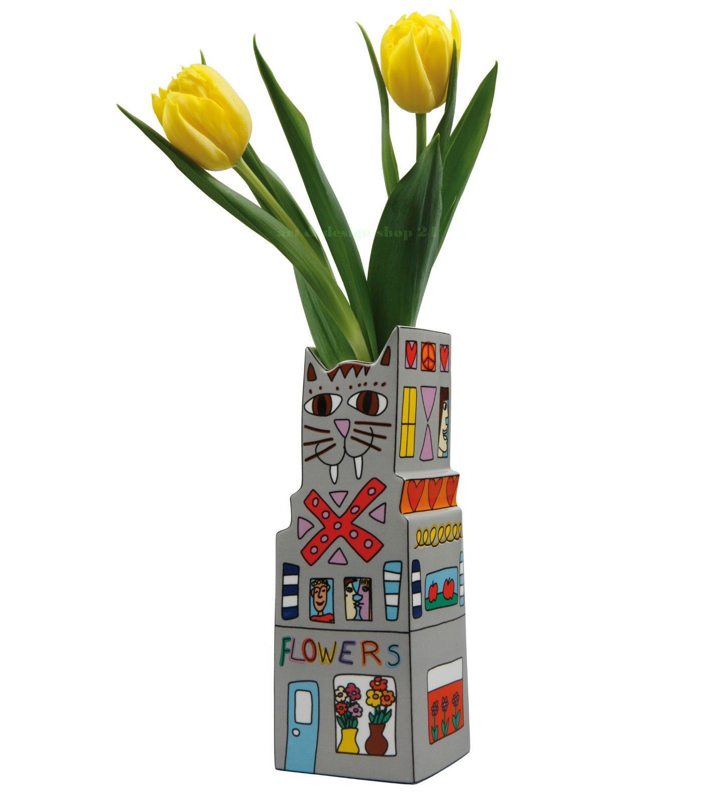 "James Rizzi Pop Art Kunst ""cat A Flower"" Vase Designobjekt"