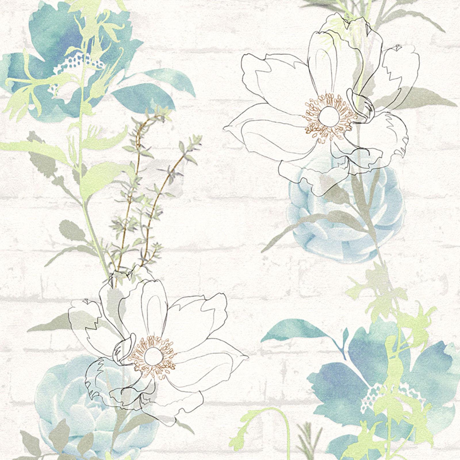 Papiertapete Urban Flowers Blau Grün Weiß Blumen Floral Blumentapete Tapete