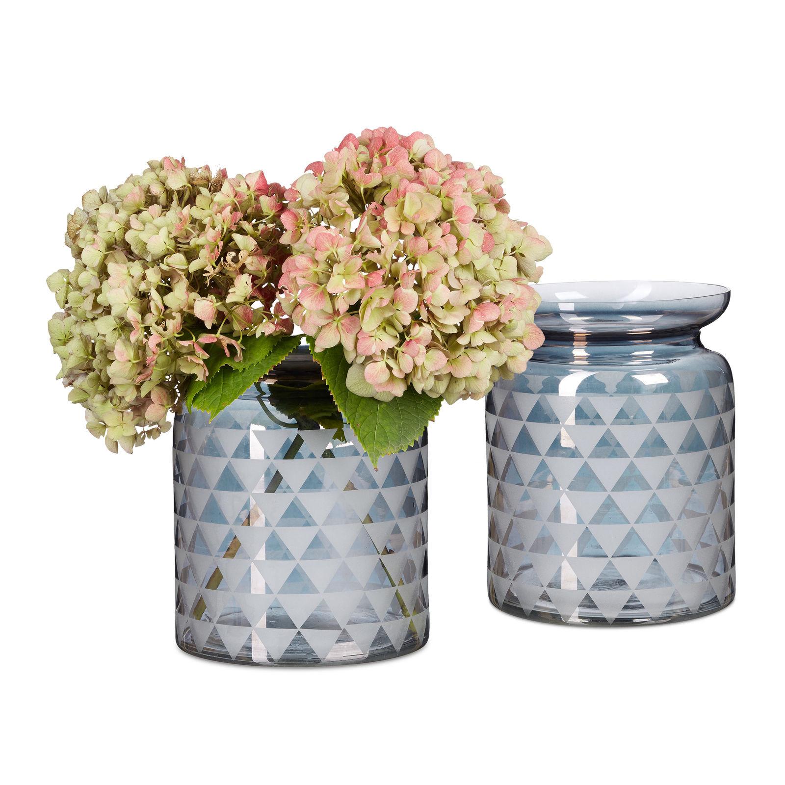 2x Dekovase Designvase Glasvase Bodenvase Blumenvase Tischvase Glas Grafikmuster