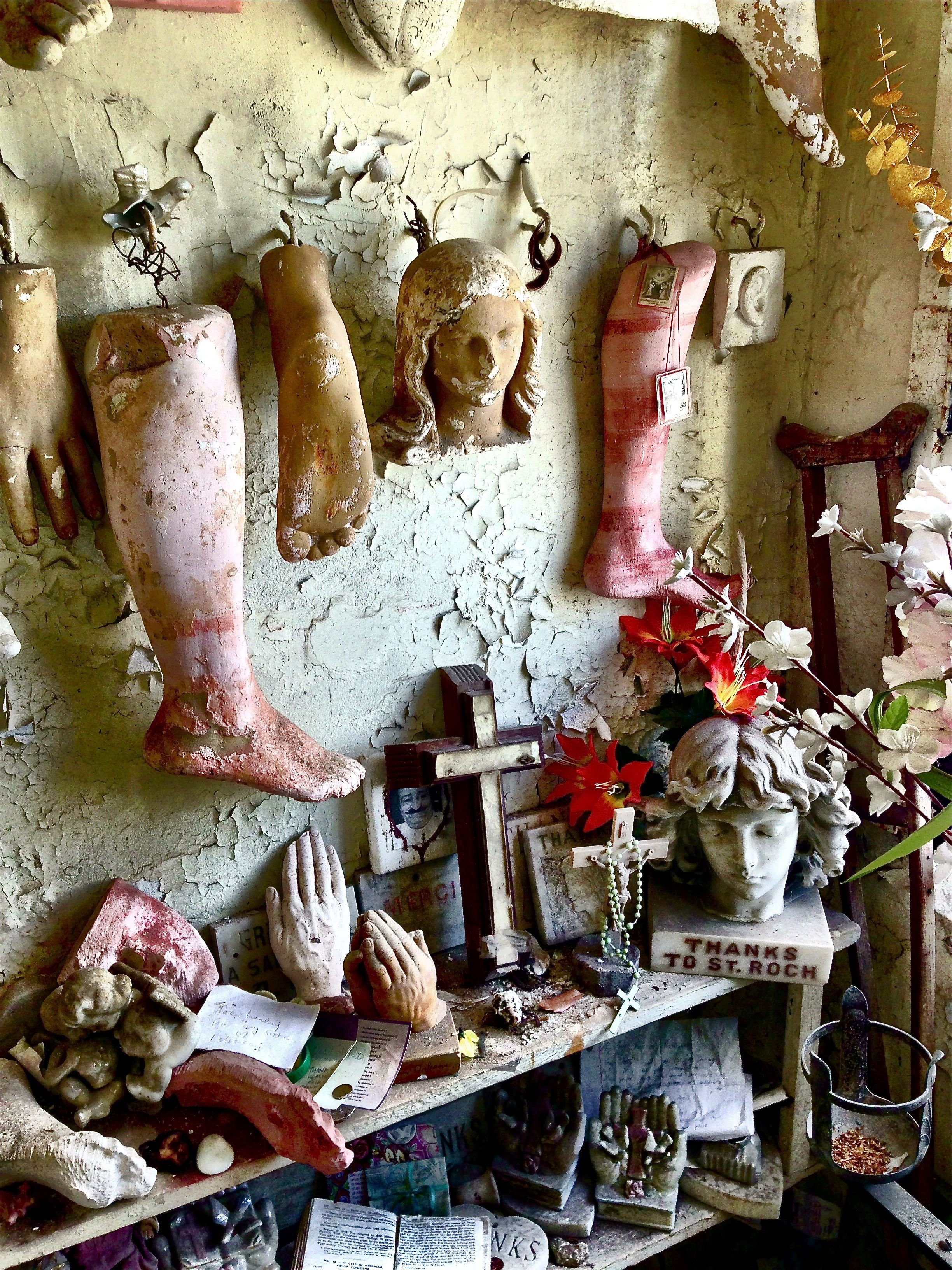 Inside the St Rochs Cemetery Church in New Orleans these are effigies of afflicted body parts that people would pray on for healing in the 17 1800 s