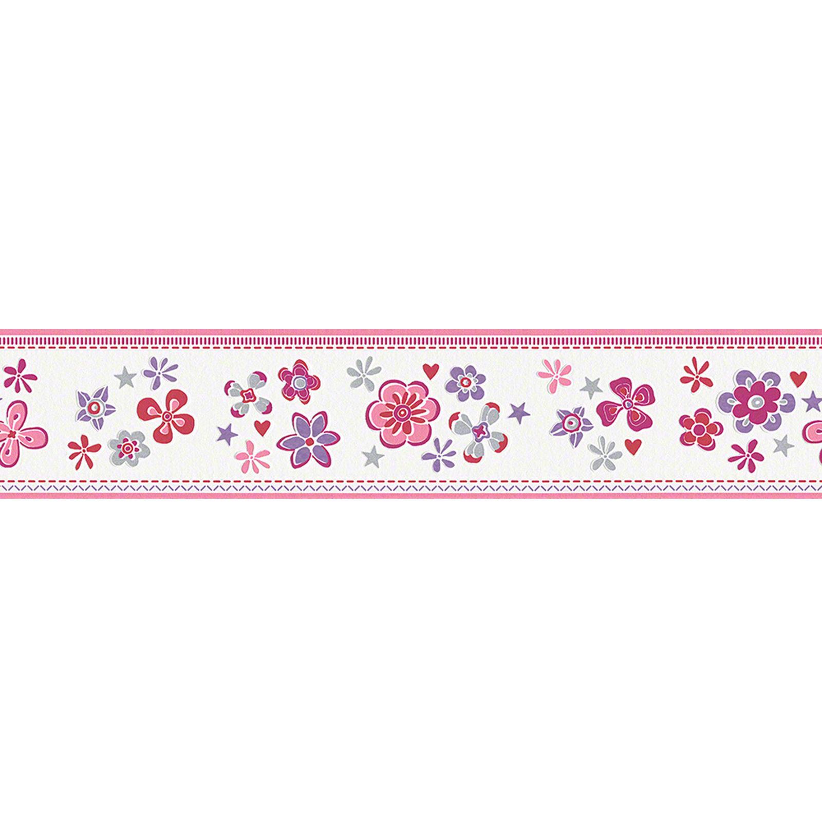 Bordüre Kindertapete Blumen Muster Lila Pink Herz Rot Stern Silber Esprit Kids