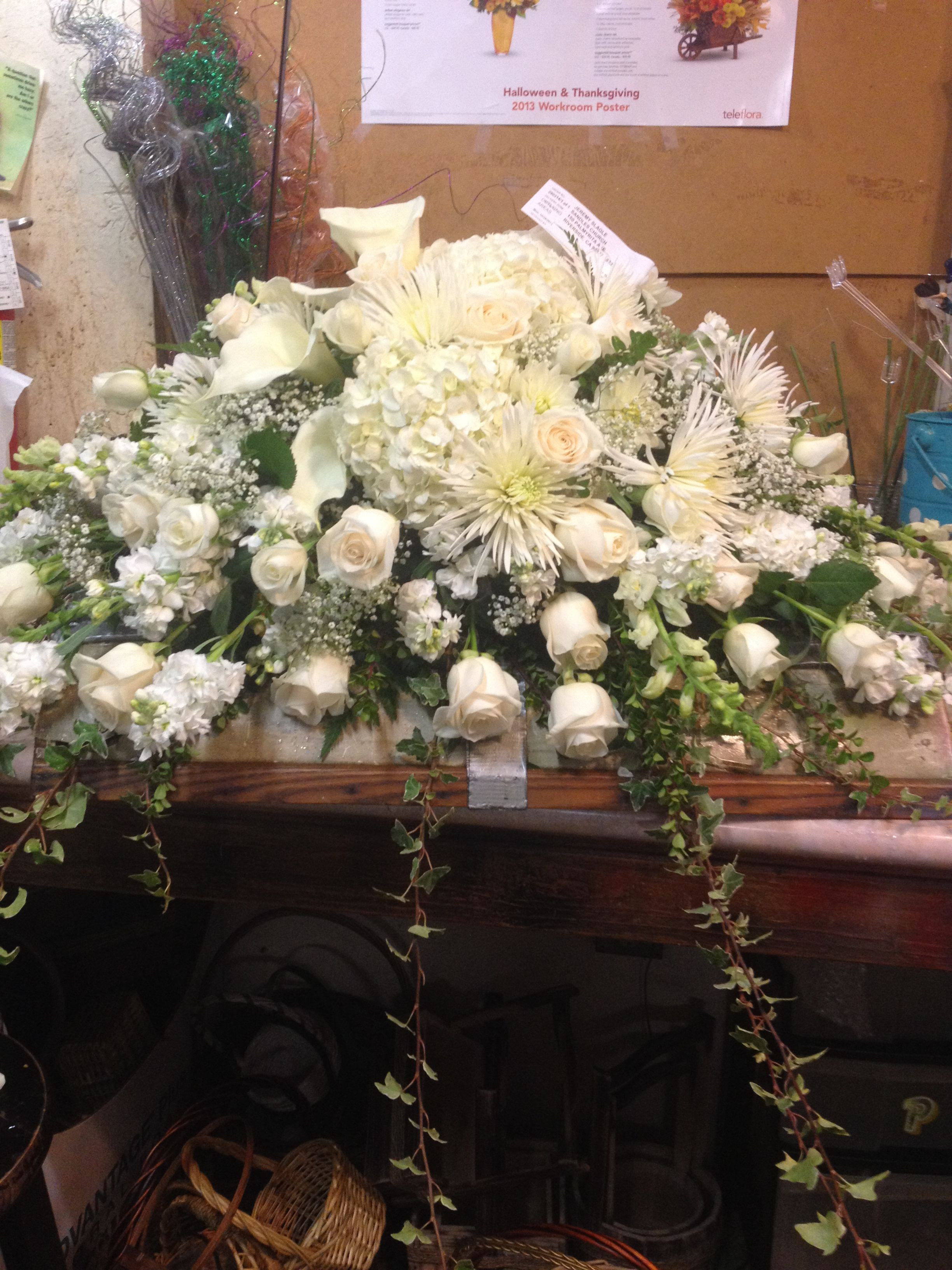 All white Casket Cover with Calla Lilies Roses and Hydrangea