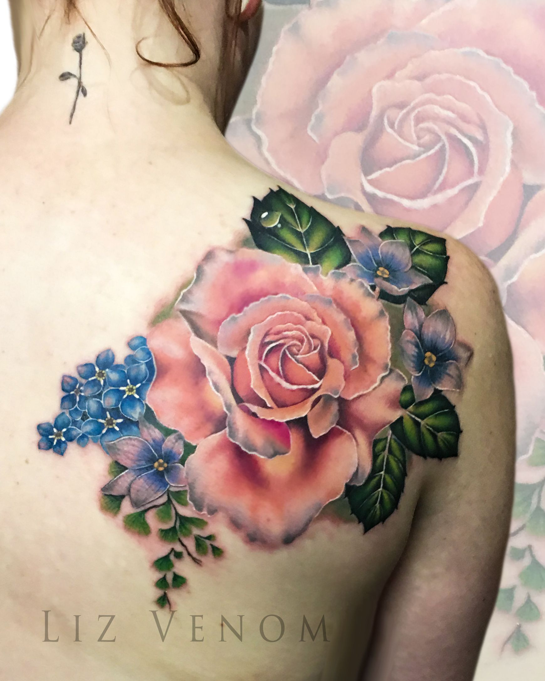 A vintage inspired floral arrangement by Liz Venom ink tattoos tattooed edmonton art artist amazing beautiful best floral realism realistic