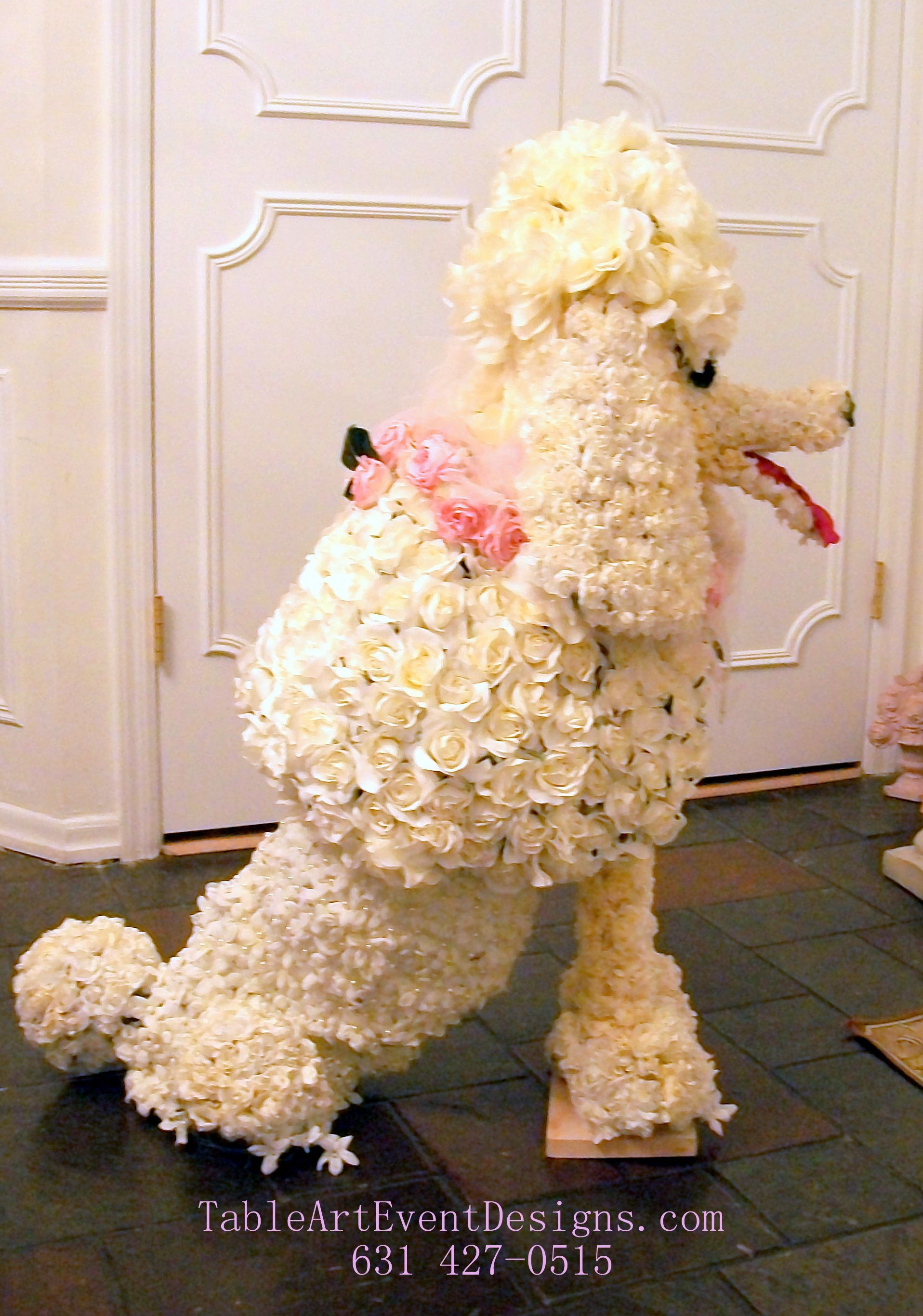 Floral Sculpture of French Poodle Dog Available for Special Events Displays and Parties