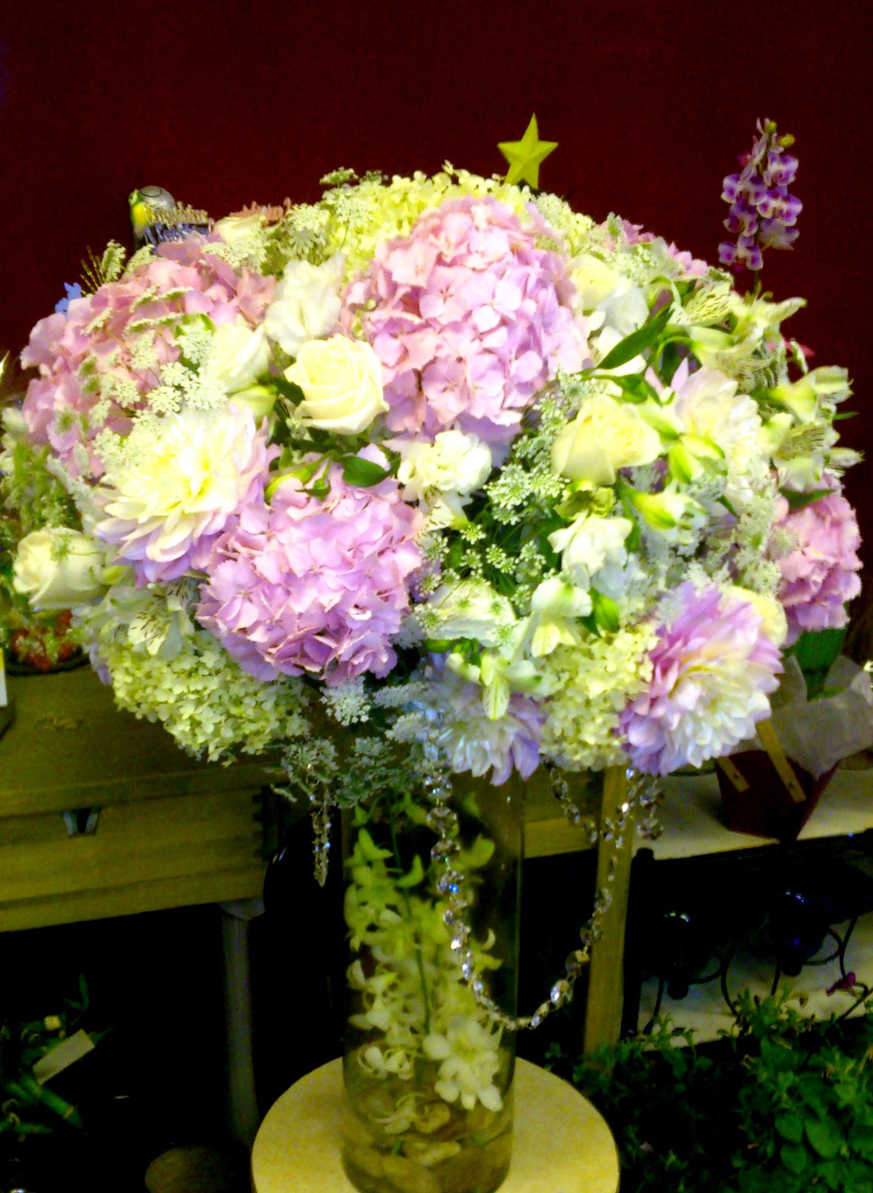 Round arrangement with hydrangea peony and orchids Flower Expressions Florist Your Friendly Vancouver