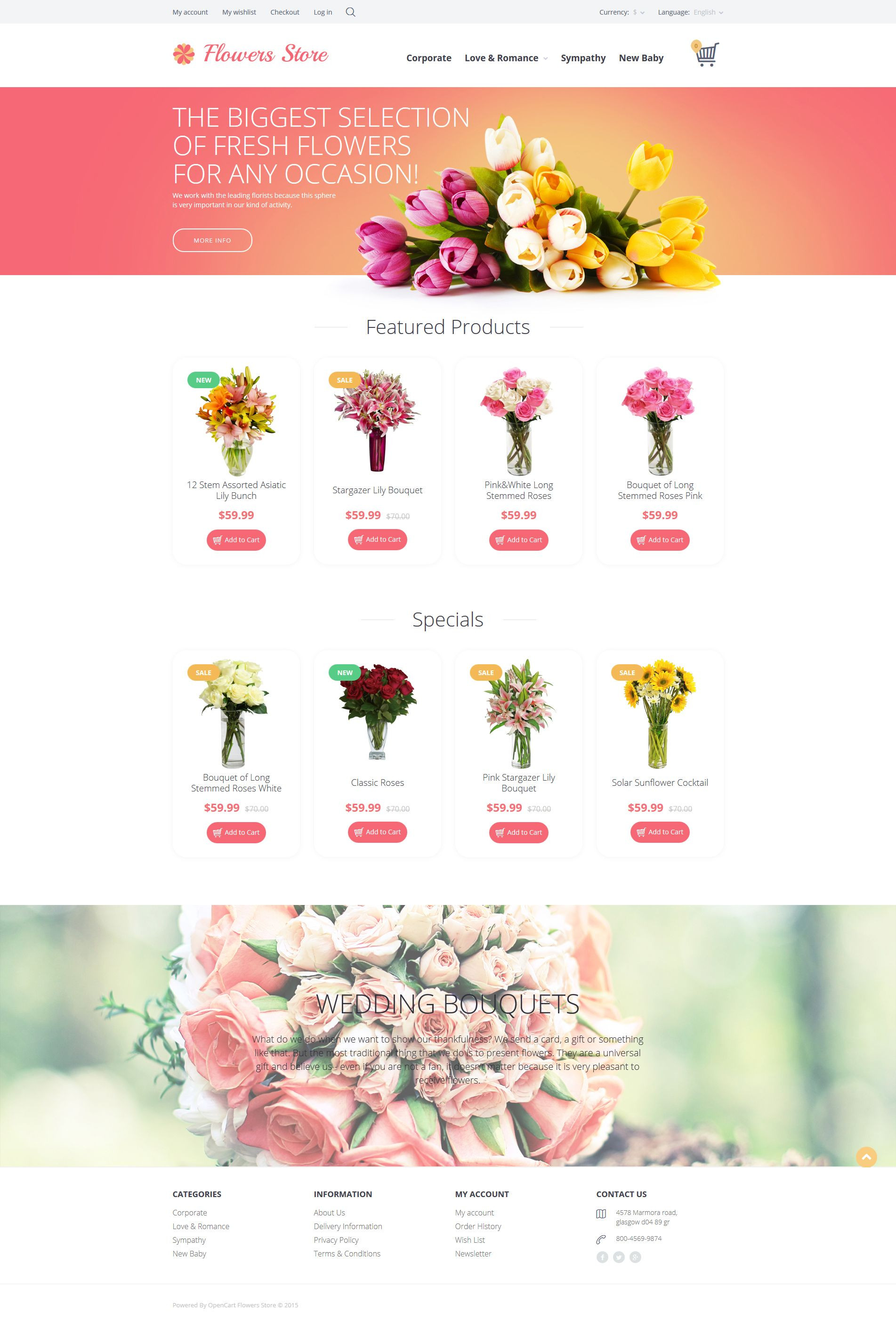 Flower Delivery Websites Fresh Flowers Store Opencart Template Opencart themes