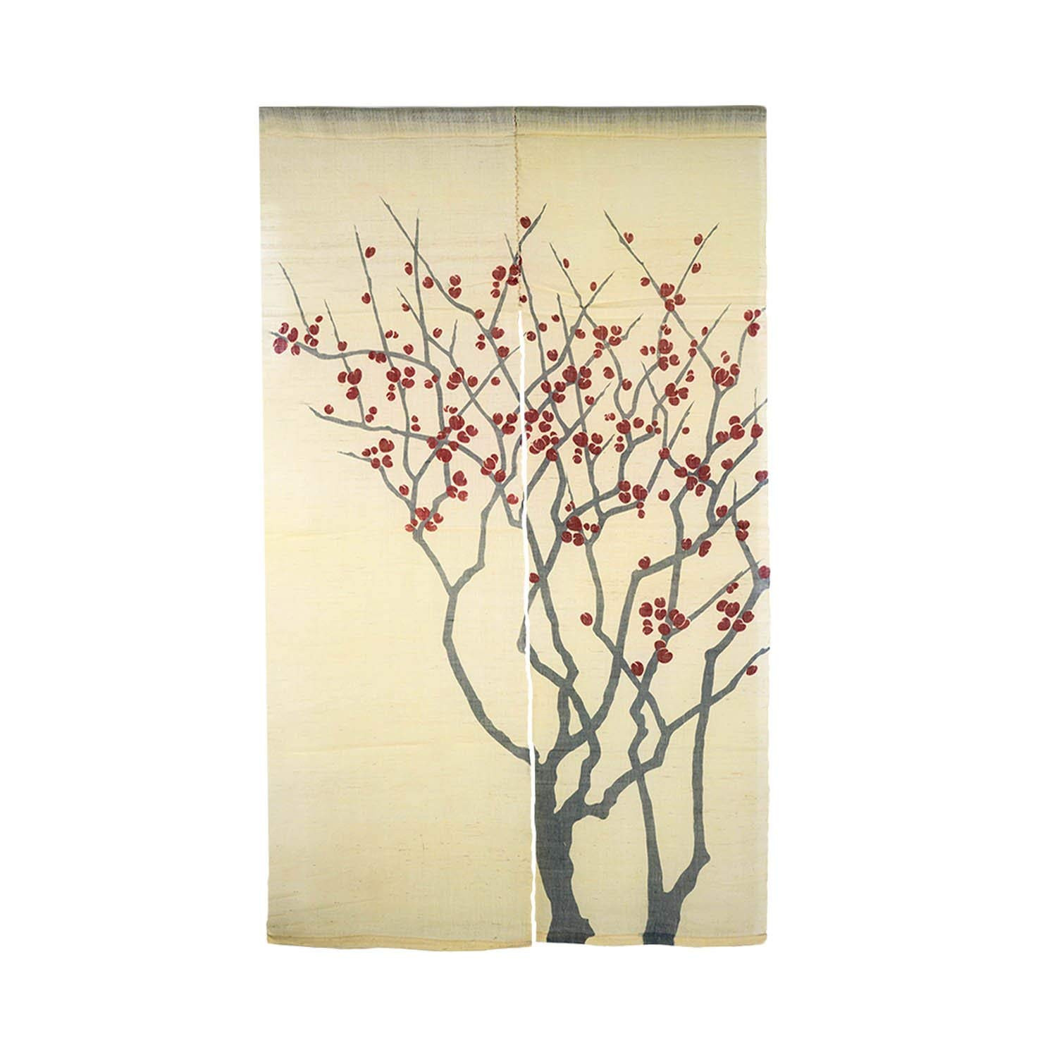 Amazon Japanese Noren Door Curtain Wall Hanging Tapestry Red Wintersweet Flower on Yellow Linen Home & Kitchen