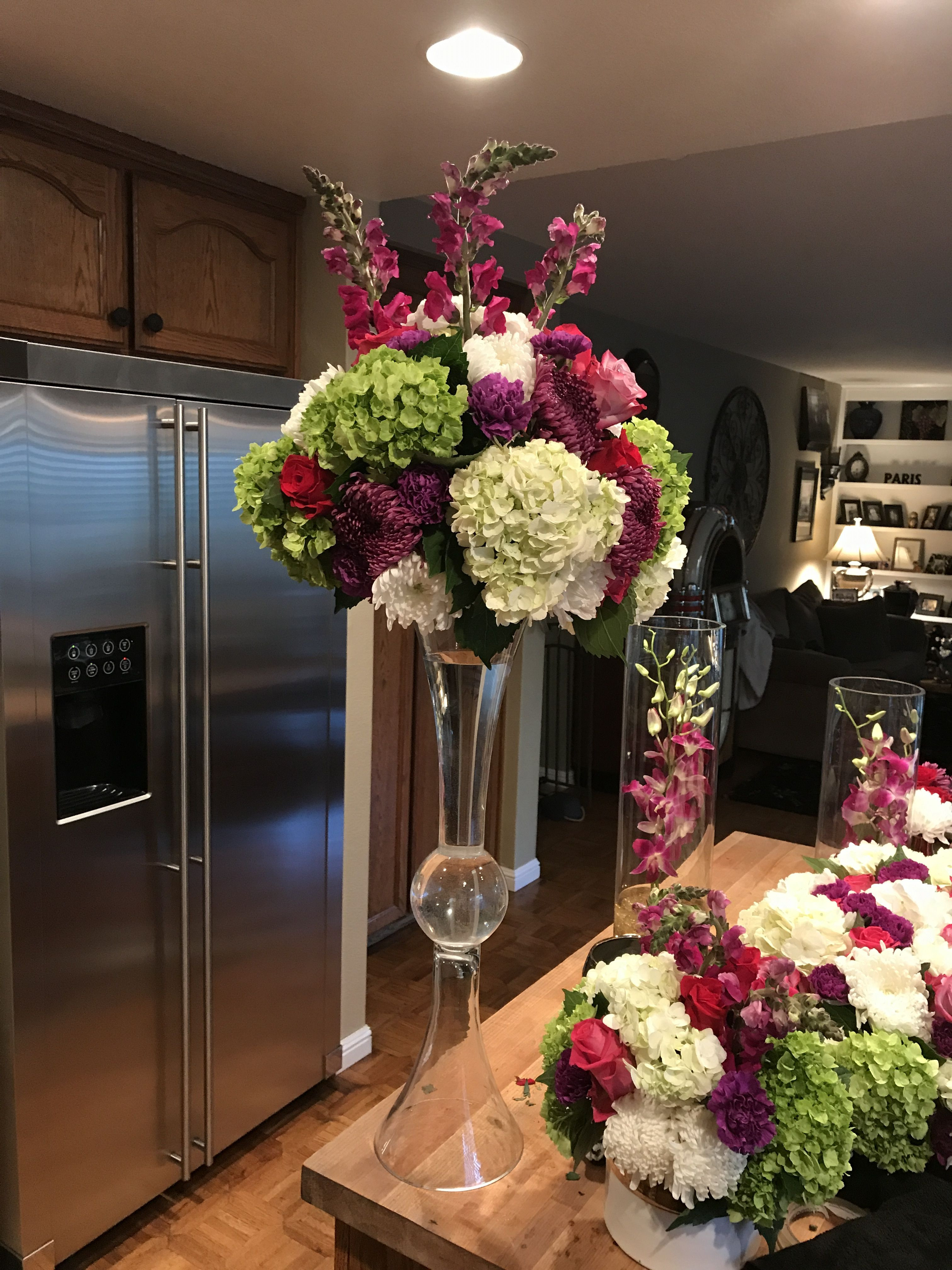 Flowers Columbus Circle Fresh Colorful Tall Centerpiece In Trumpet Vase