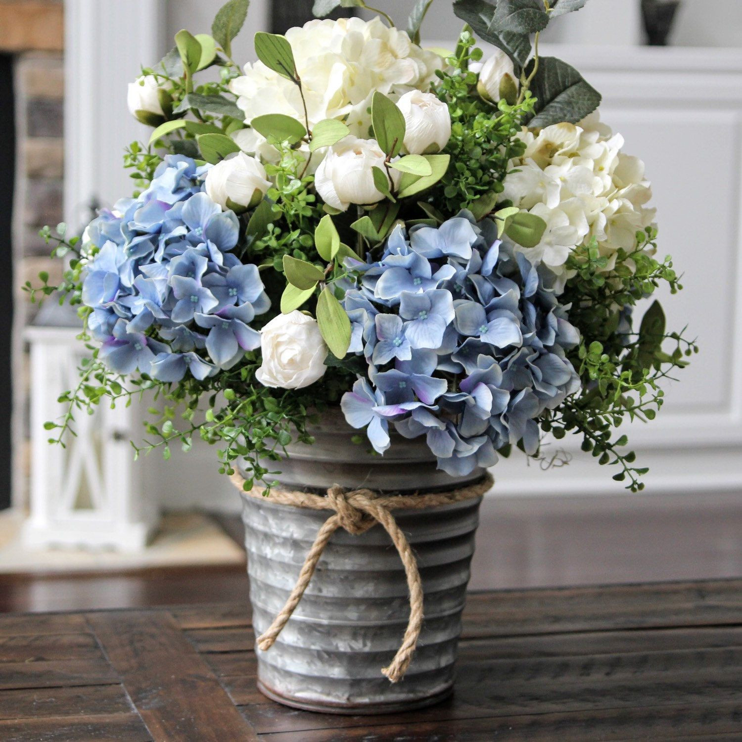 Stunning blue and creamy white hydrangea centerpiece