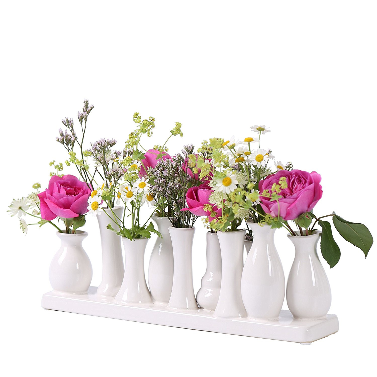 Ceramic vase set flower vase ceramic vase colorful white vase flower plant ceramic set decoration 3 sets of 10 vases white Amazon Kitchen &