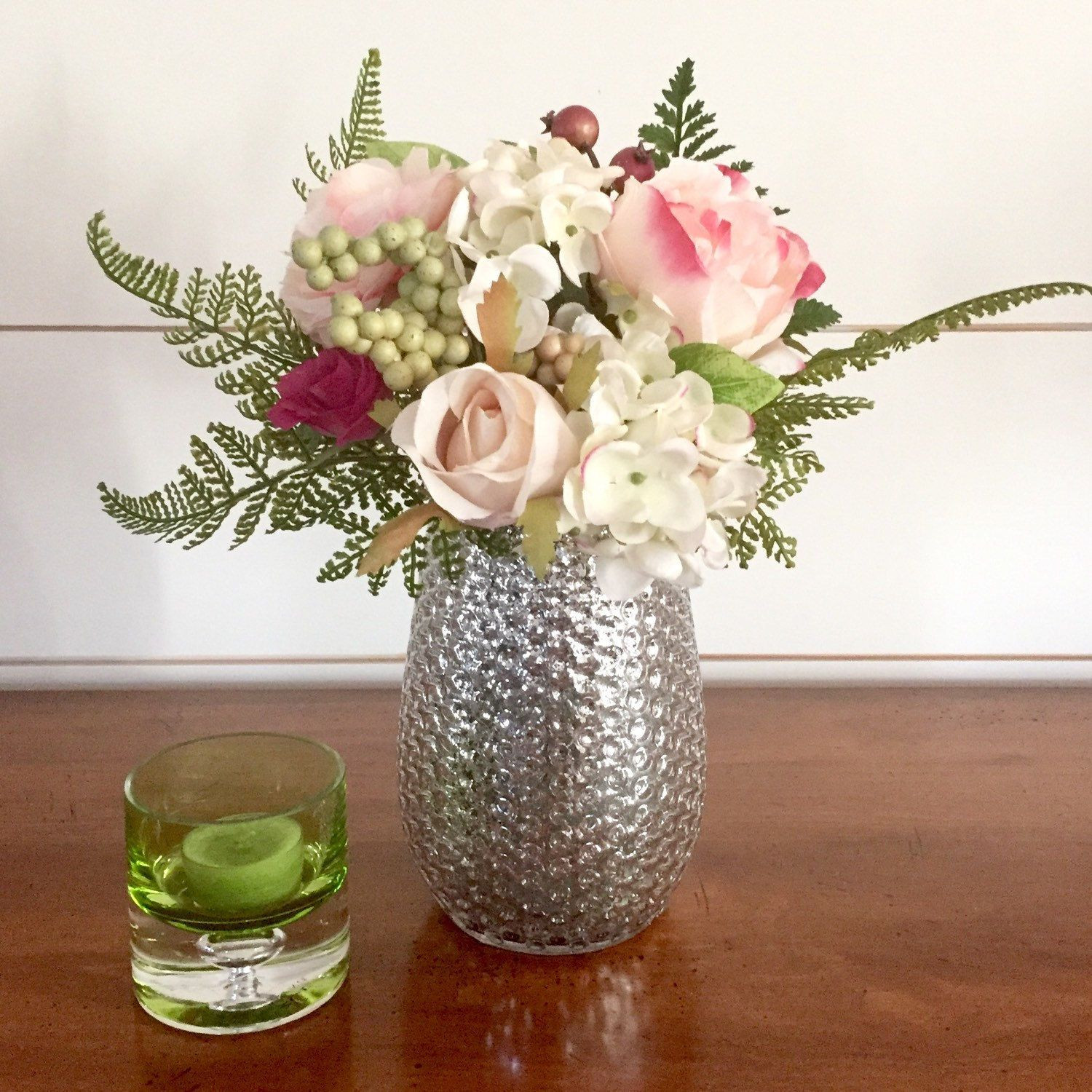 Lovely vintage hobnailed mercury glass vase spring summer floral arrangement centerpiece