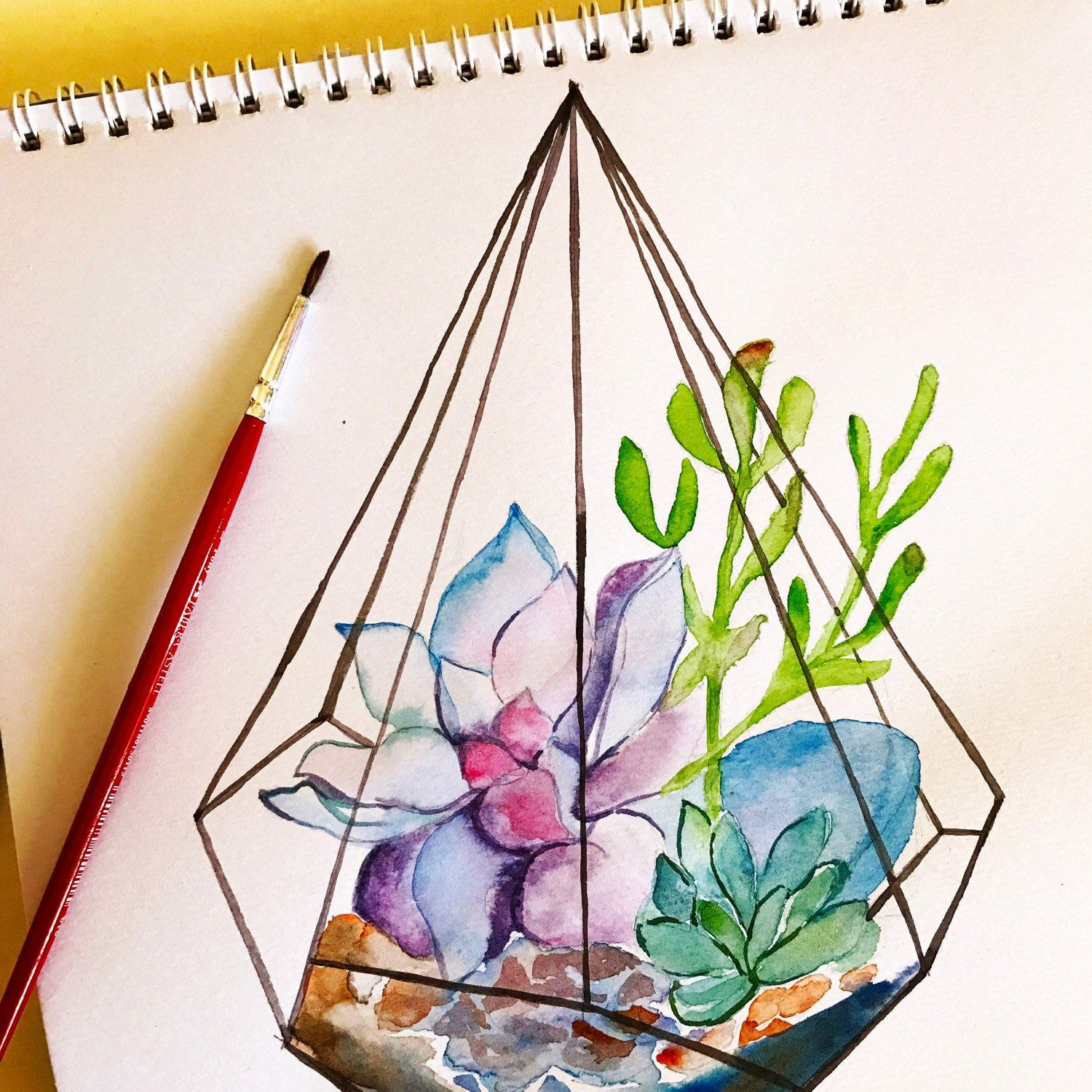 Beautiful terrarium succulent art print Watercolour succulent print for beautiful home decor