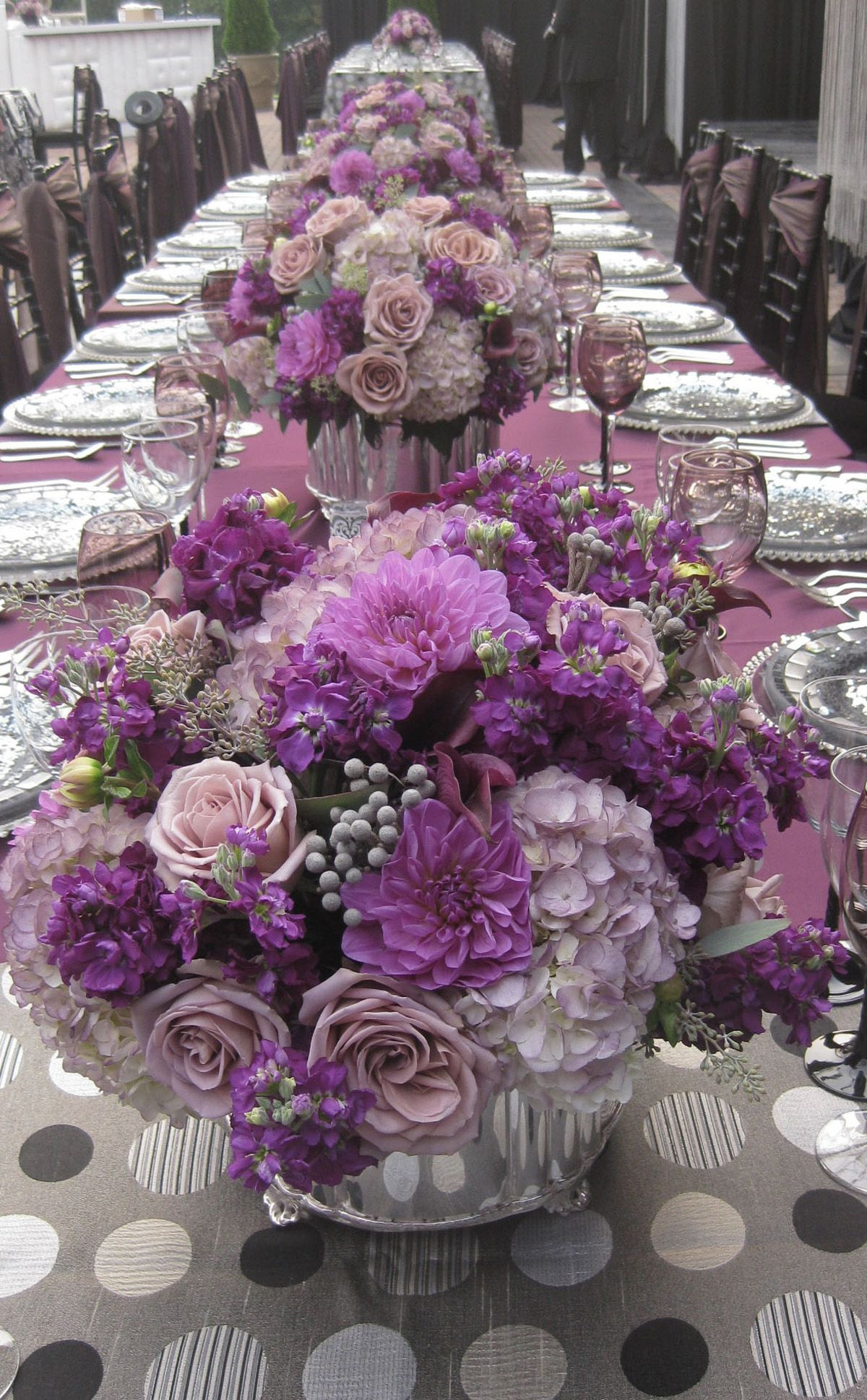 Love the colors with orchids greys and in between tints Now serve tinted white wine champagne with purple grapes Add wine charm with lavender and