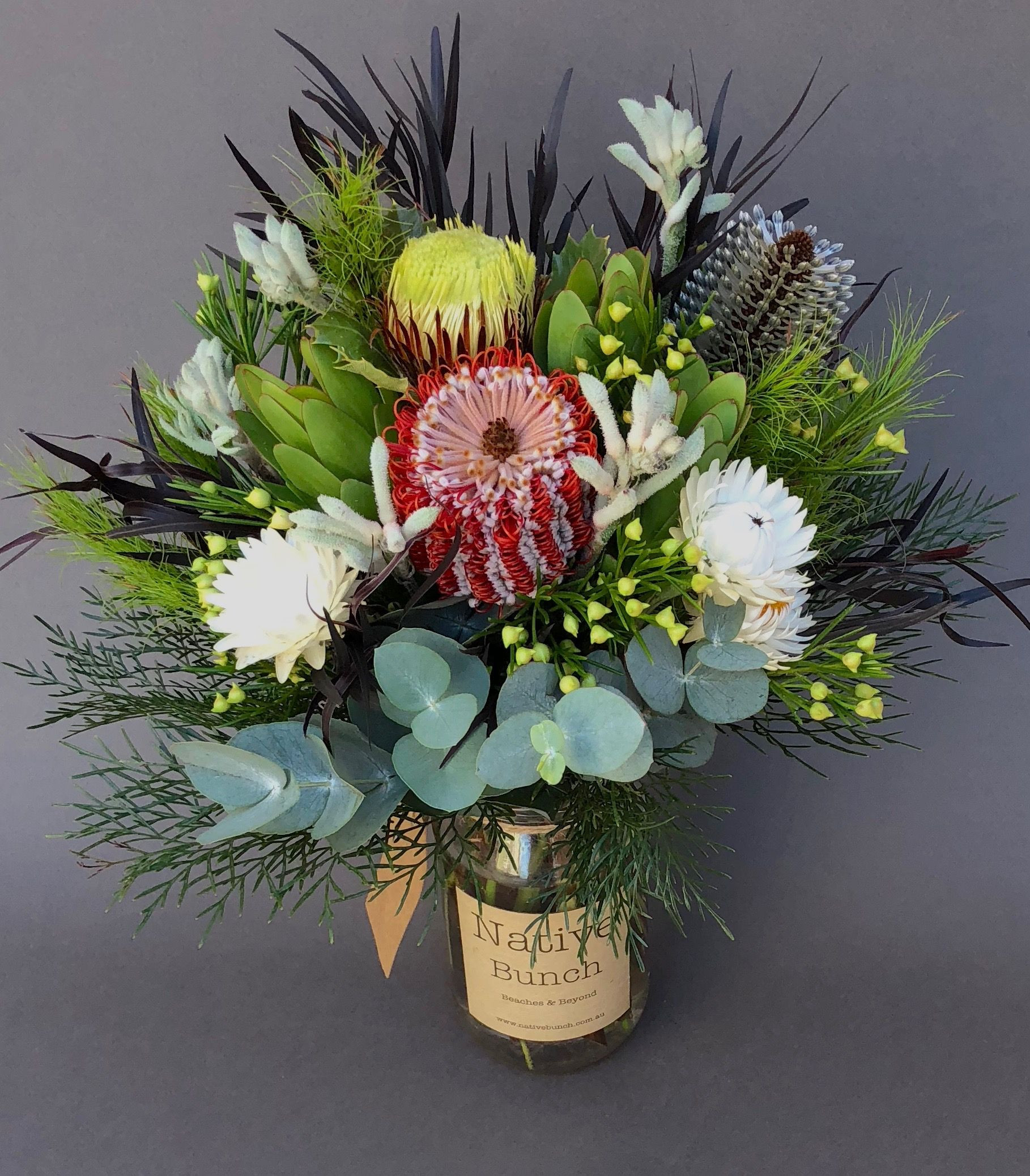Native Flower posy of Banksia coccinea Dryandra Banksia hinchinbrook bud Waxflower lemon drop