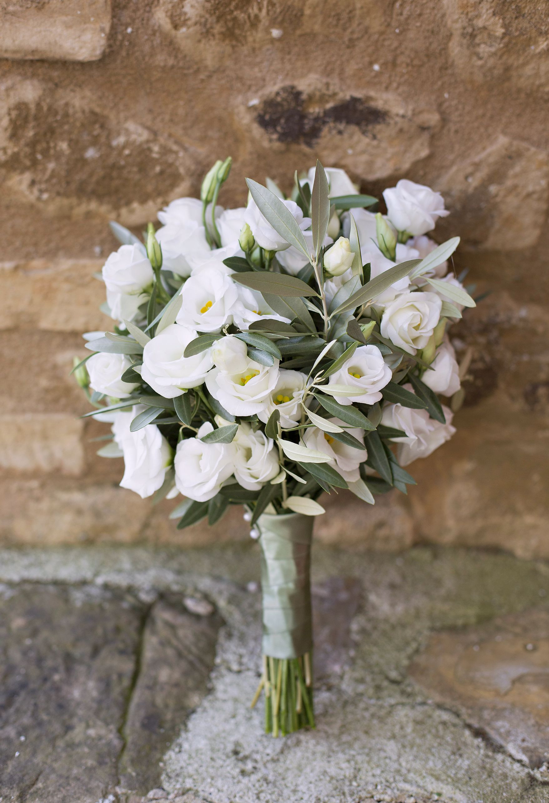 white and green olive botanical bouquet at a tuscany wedding in italy