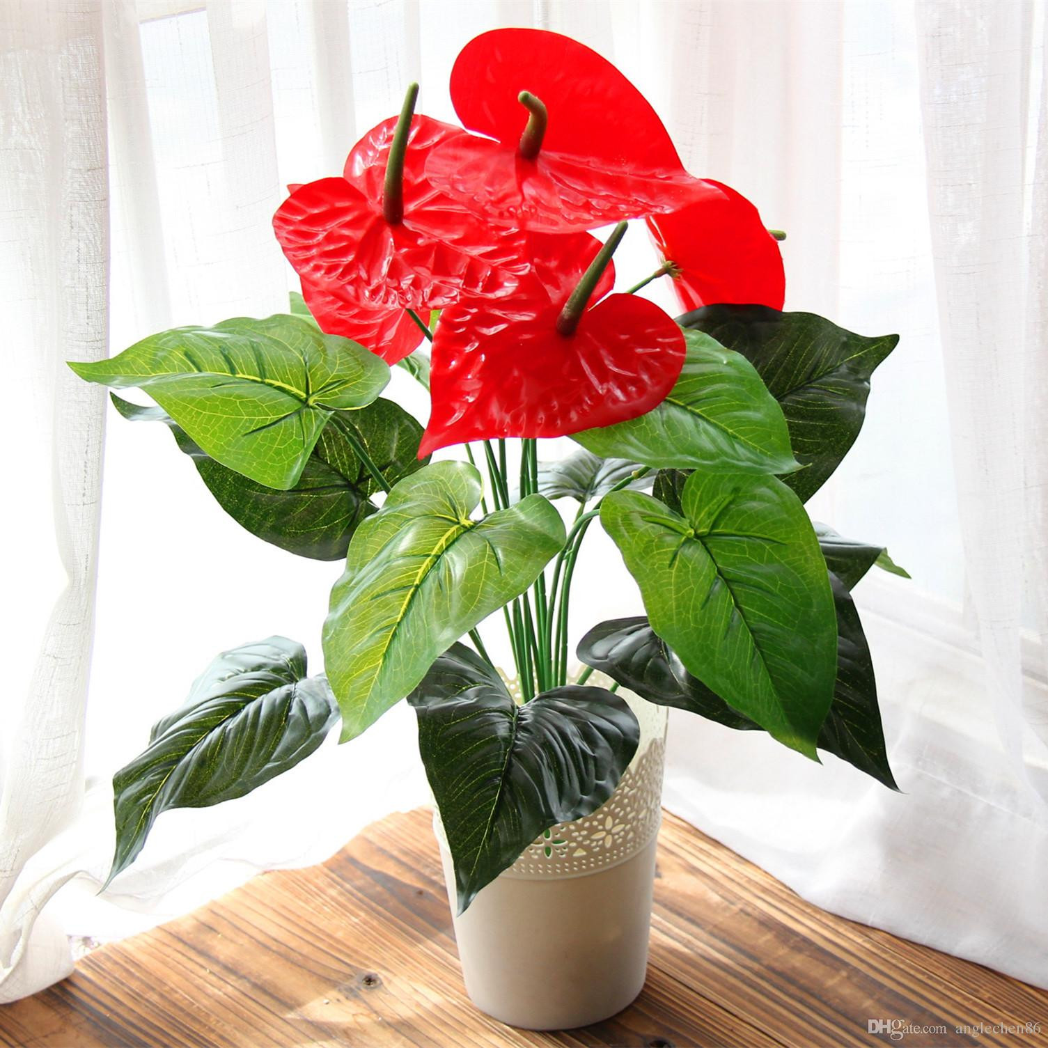 Best Great 18 Heads Artificial Flower Small Potted Plant Silk Suit Potted Anthurium fice Home Garden Decoration Bonsai Wholesale Under $5 03
