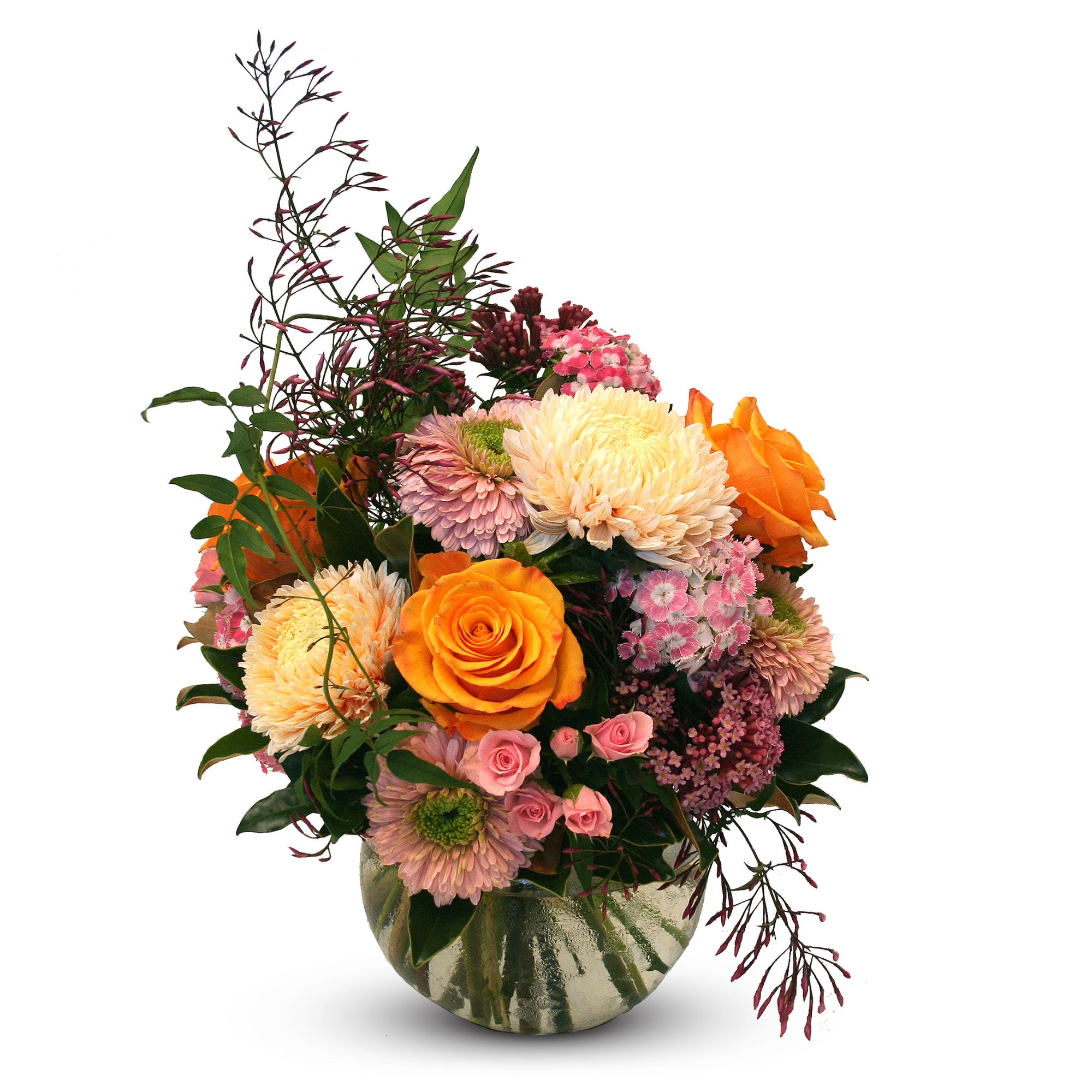 Seasonal flowers in pink peaches and pastels as a designed posy bouquet or a