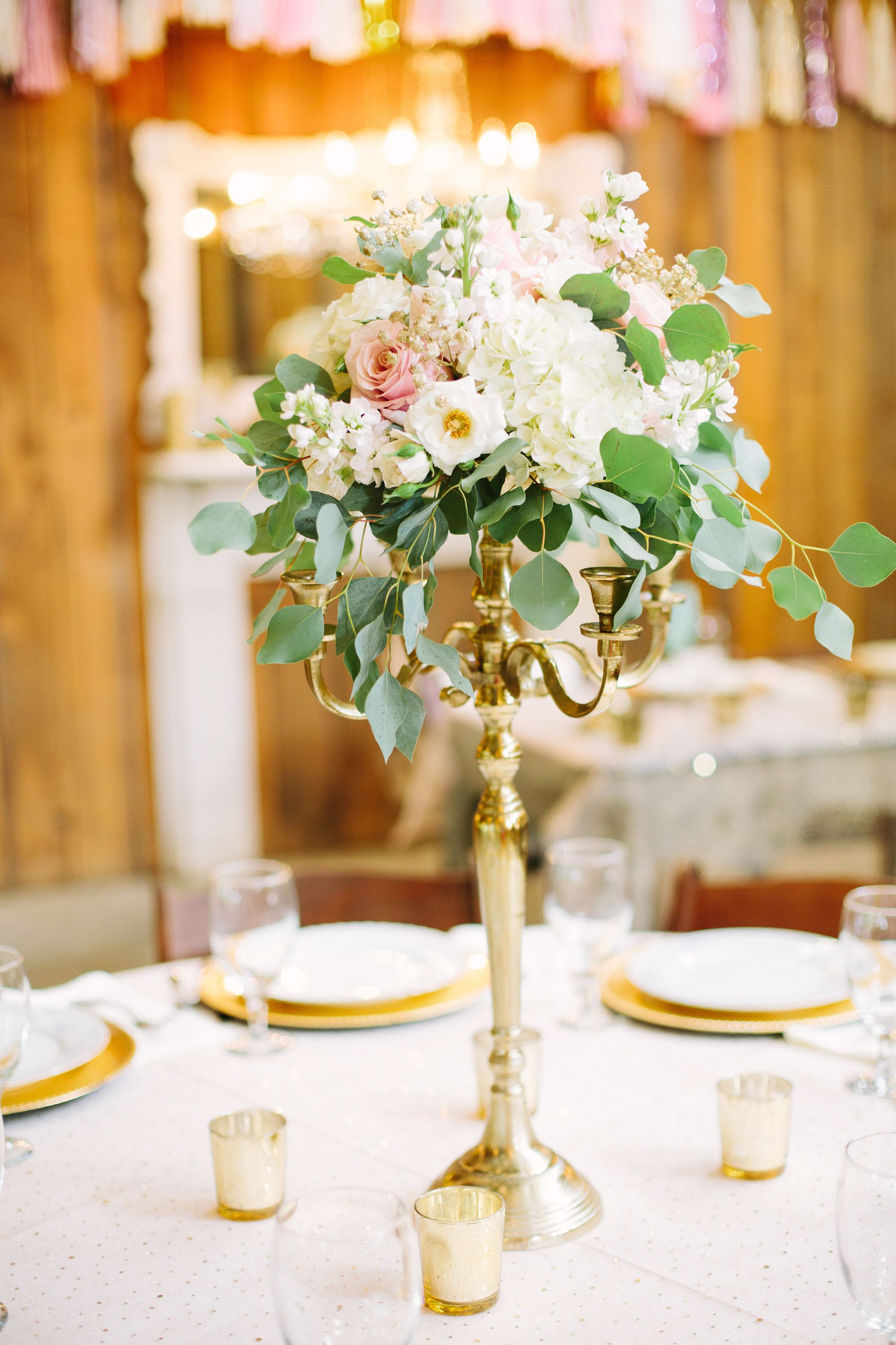 Gold Candelabra Centerpiece With Blush and Ivory Flowers More