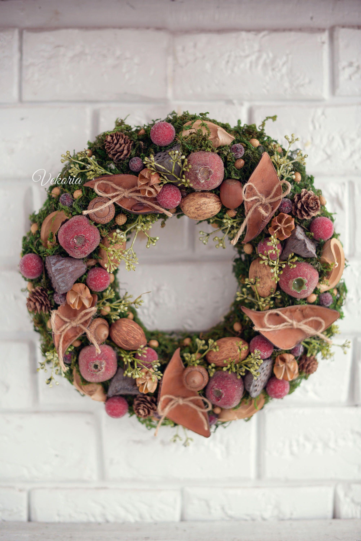 Natural moss wreath Rustic decoration front door Cones wreath Интерьерные венки Pinterest