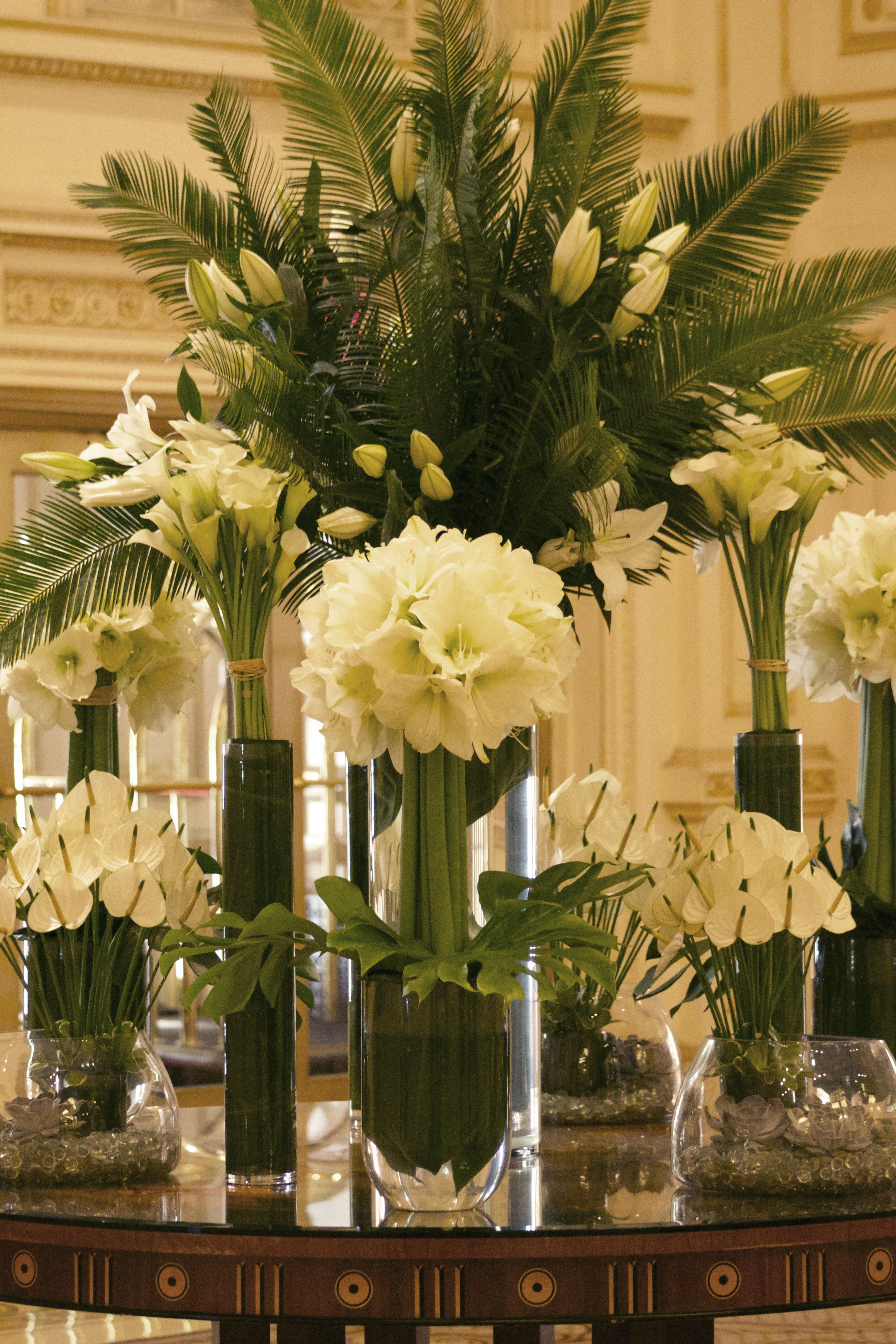 Elegant and simple white and green amaryllis calla lilies anthurium and lilies