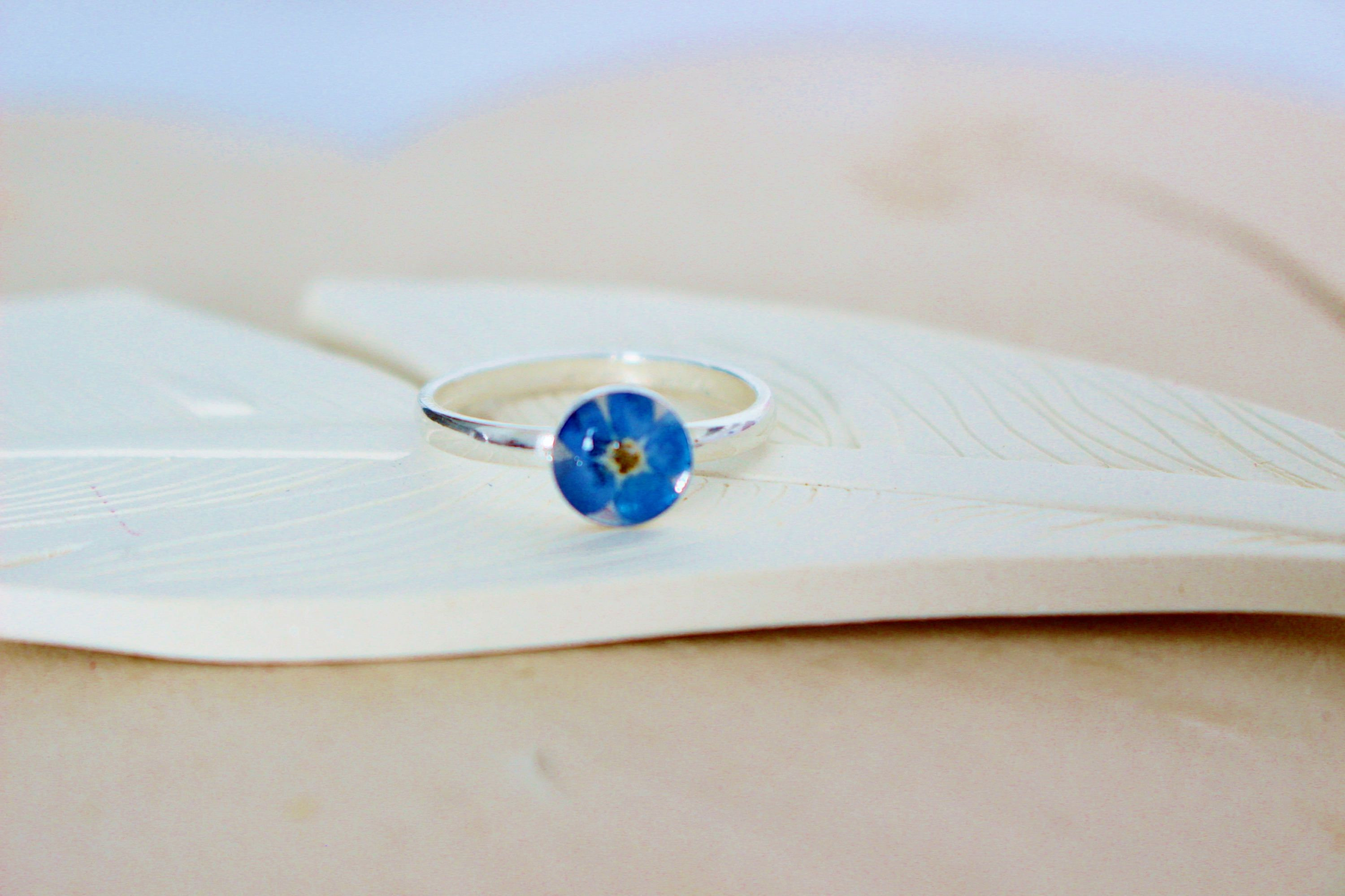 For me Not Sterling Silver Ring Real Flower Jewellery Botanical Ring Pressed Flower