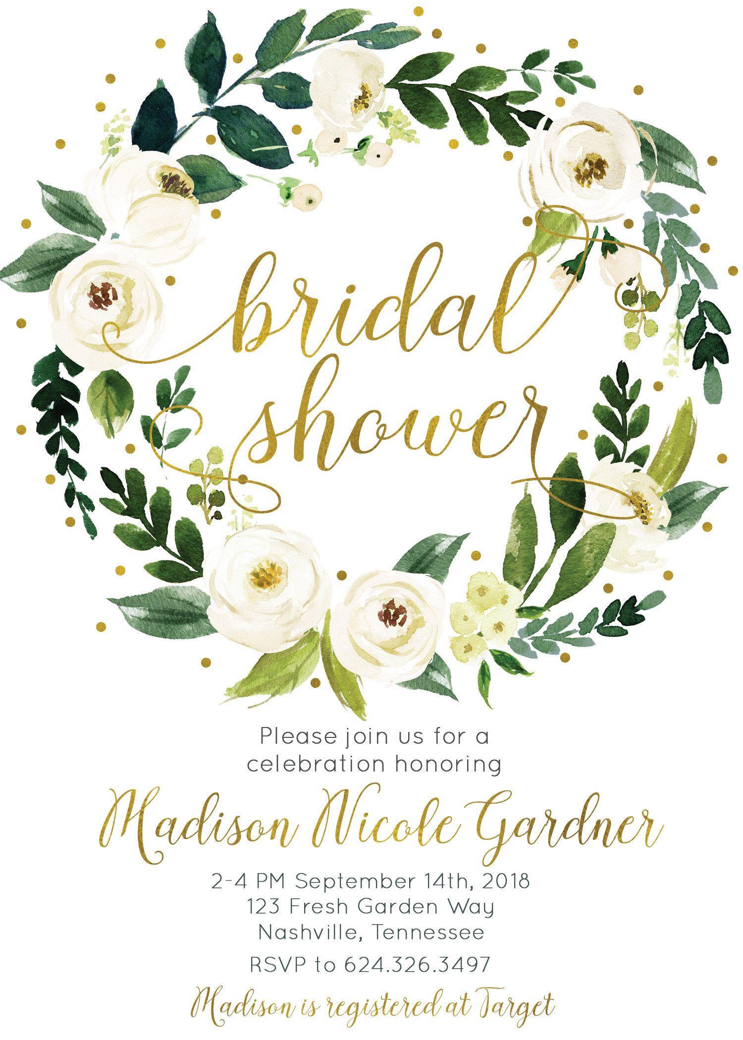 Gorgeous Bridal Shower Invitation White Cream Green Watercolor Floral Wreath Digital Printable invitation white