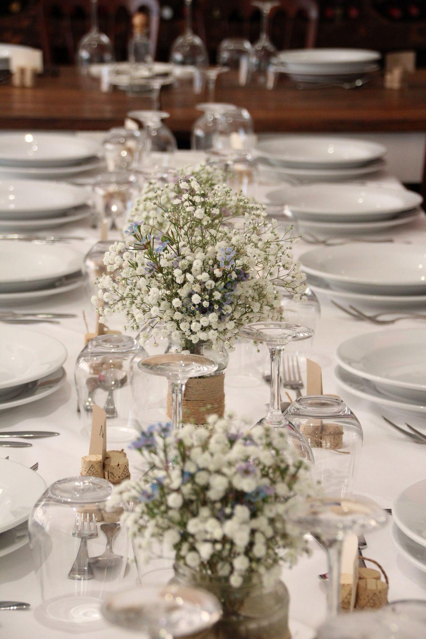 Rustic wedding amongst the vineyards simple styling with Babies breath & wax flower in mason jars rusticwedding