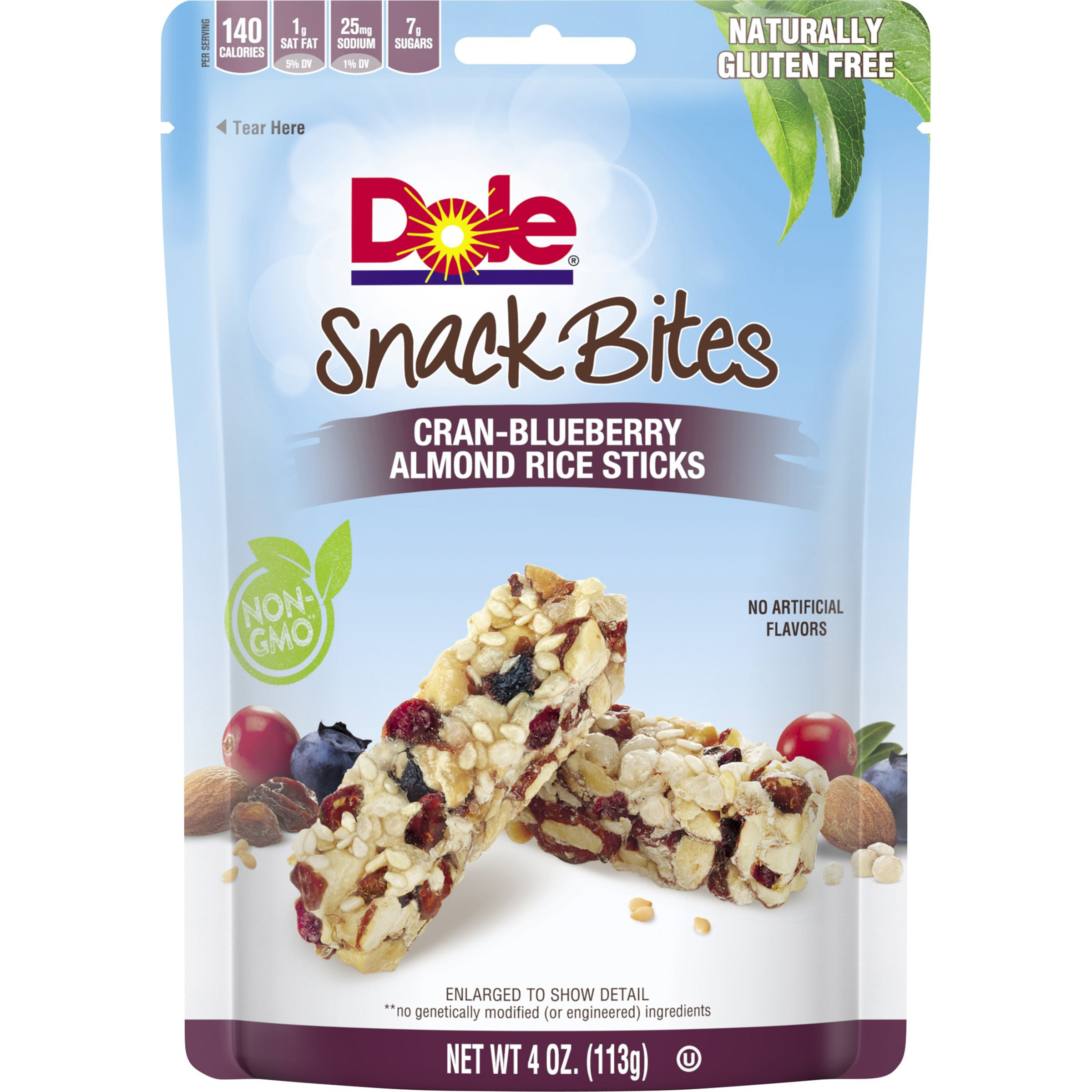 Dole Snack Bites Cran Blueberry Almond Rice Sticks 4 Ounce Pack of