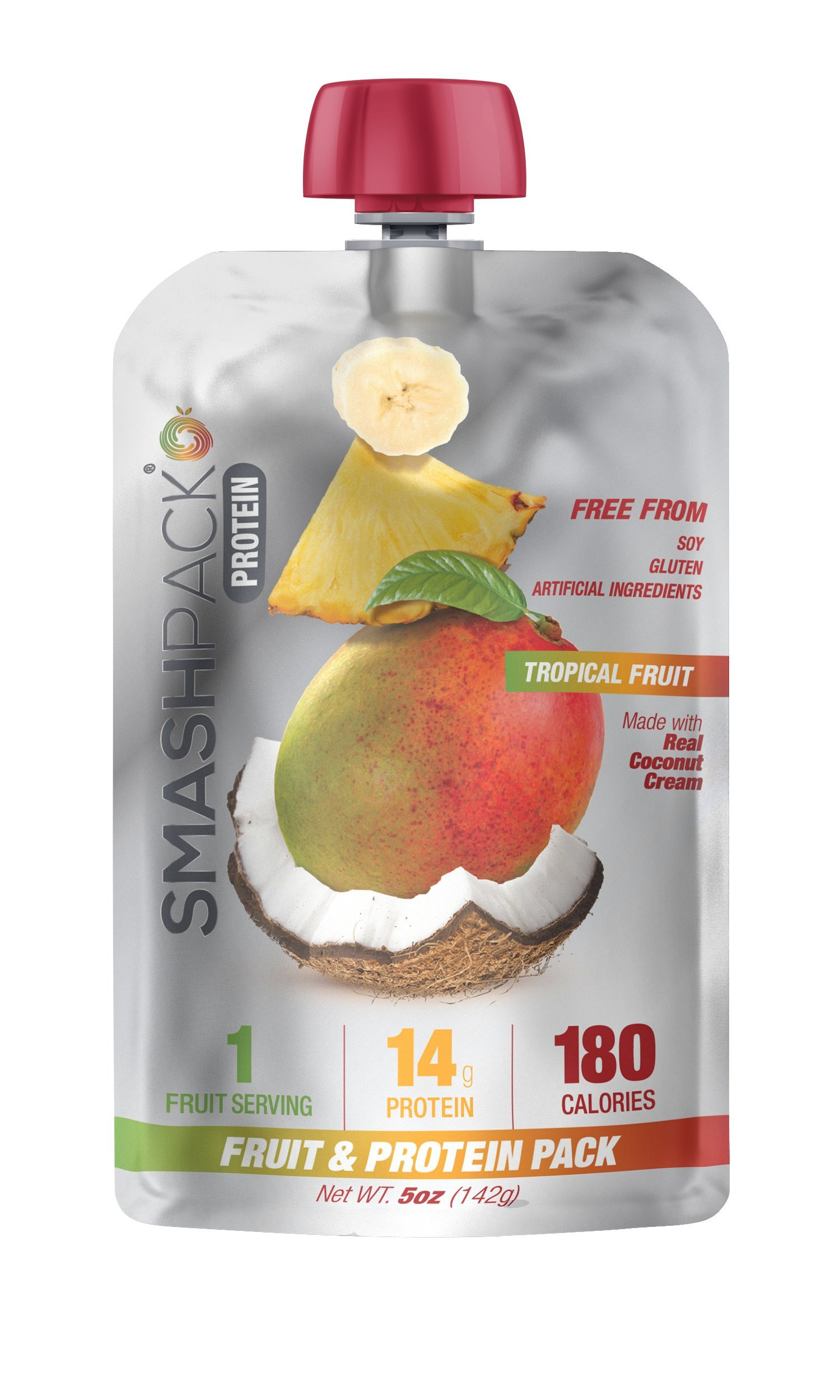 SmashPack Real Fruit and Protein Smoothie Squeeze Snack – Soy Free Gluten Free No