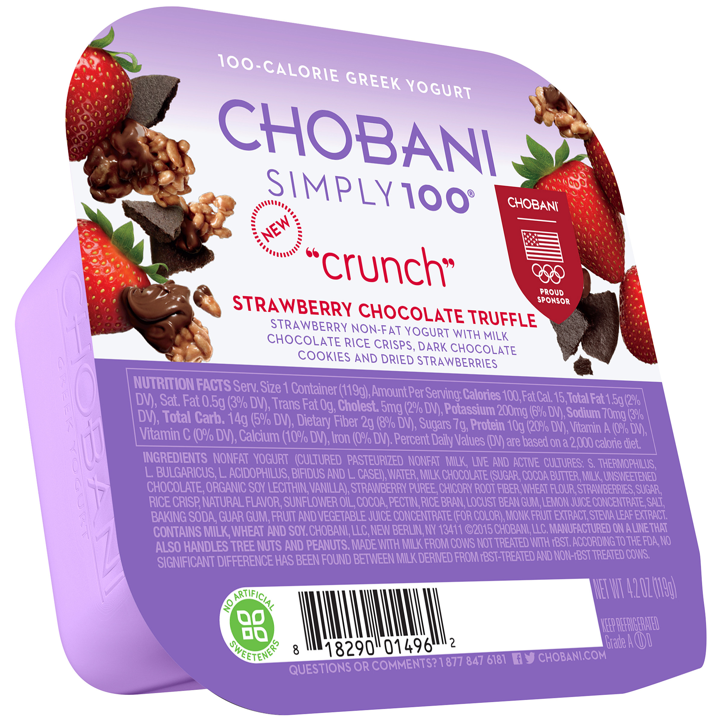Chobani Simply 100 Crunch Strawberry Chocolate Truffle Non Fat Greek Yogurt 4 2 Oz Walmart