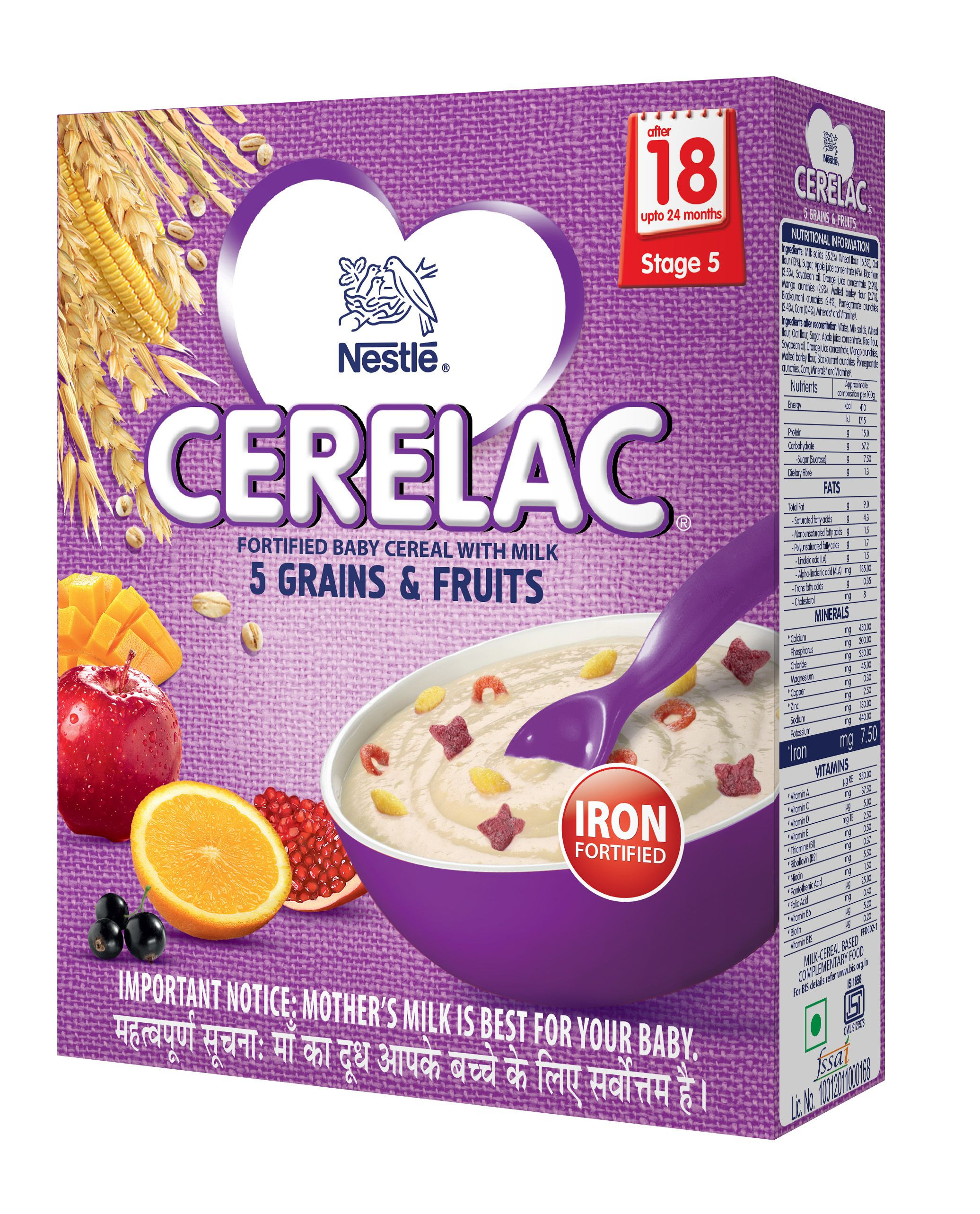 Nestle CERELAC Infant Cereal Stage 5 18 Months 24 Months 5 Grains and Fruits 300 g