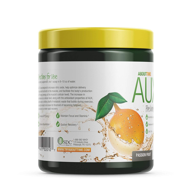 Amazon About Time AUX Preworkout Passion Fruit 30 Servings Performance Blend Energize and Restore Formula 0 Sugars 0 Calories 0 Fat Health