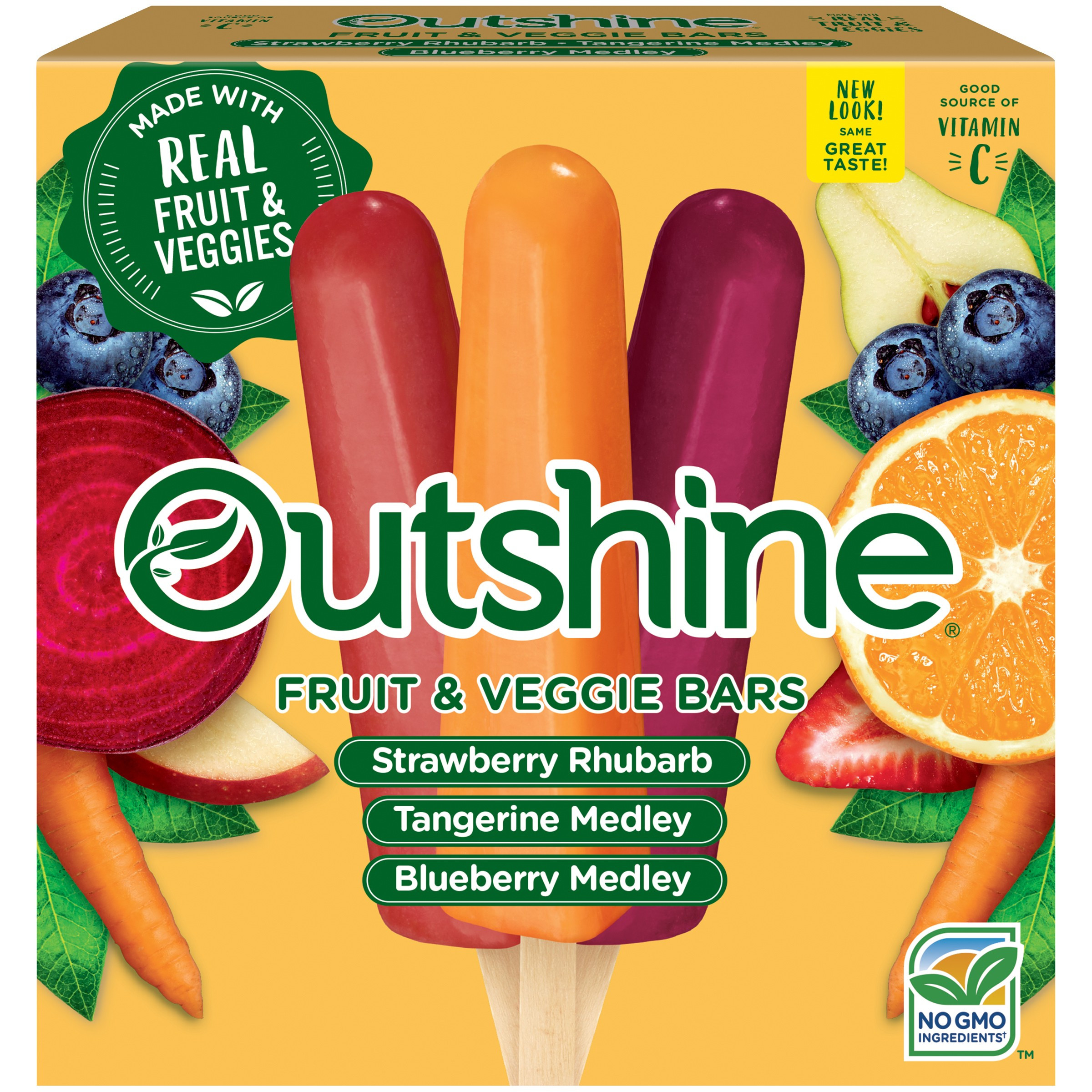 OUTSHINE Strawberry Rhubarb Tangerine Medley & Blueberry Medley Fruit & Veggie Bars Variety Pack 12 ct Box Walmart