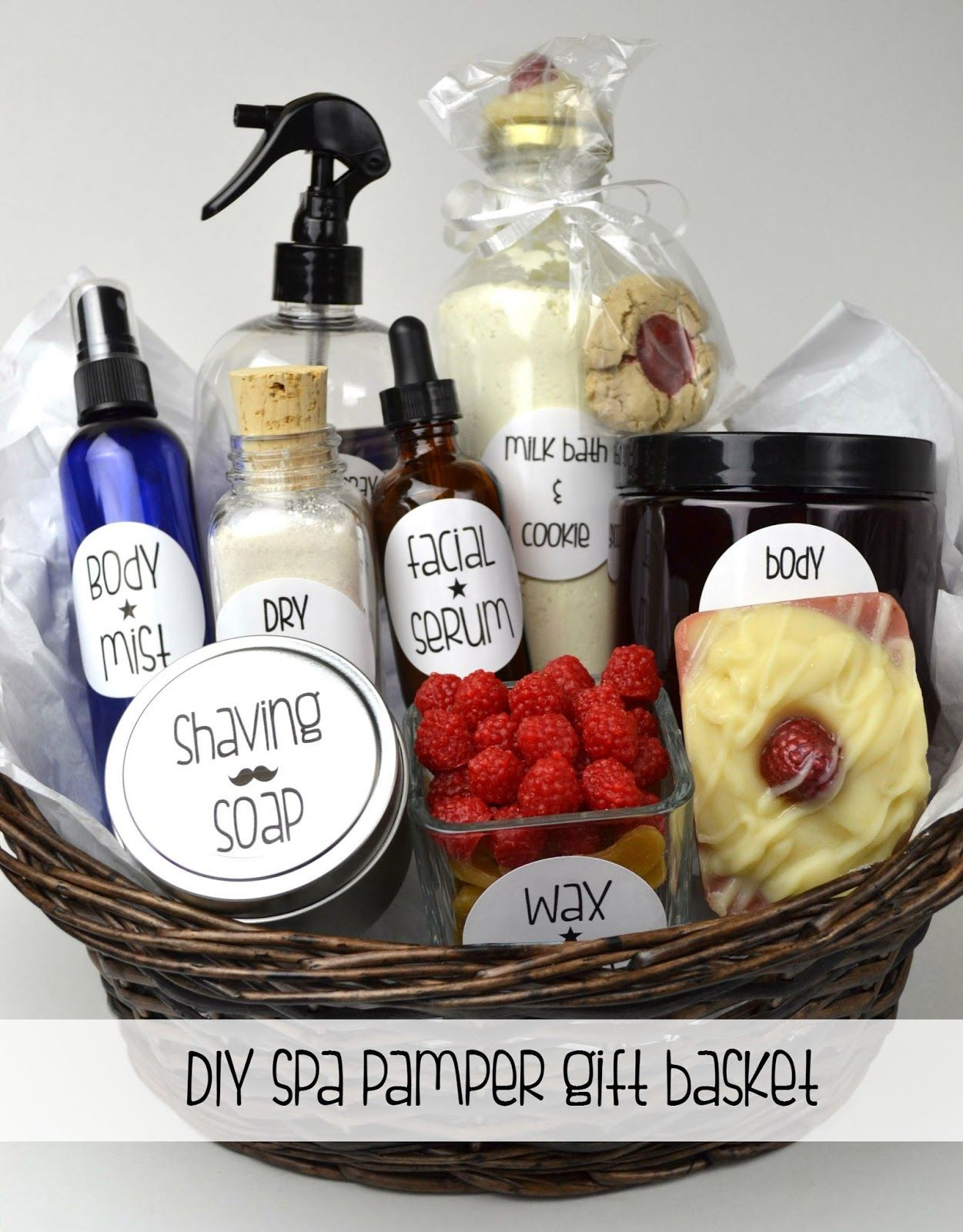 Make this DIY Spa Pamper Gift Basket for DIY Valentine s Day ts for your favorite people Includes recipes for making Apple Raspberry Soap and a Dry